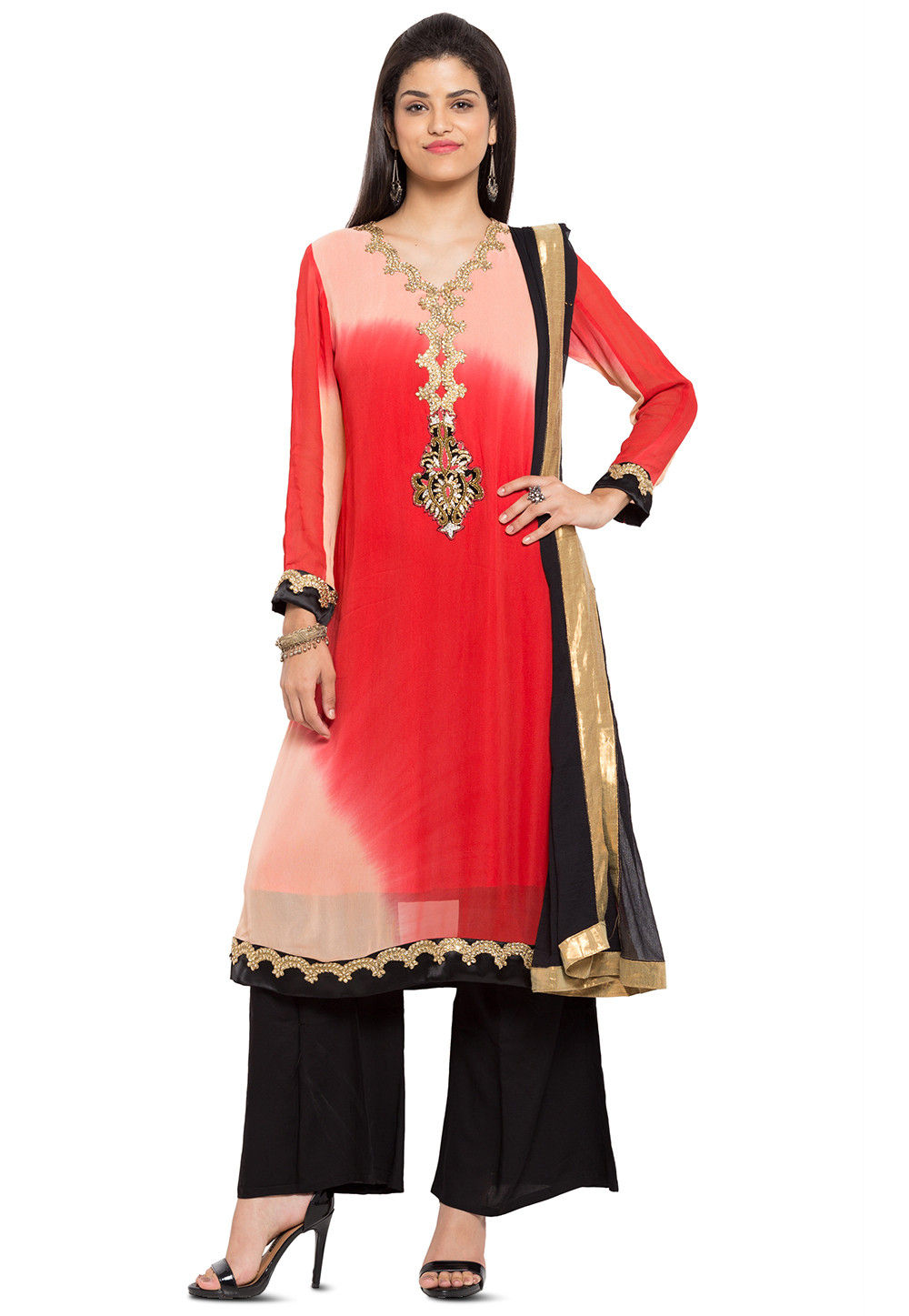 Embroidered Georgette Pakistani Suit in Peach and Red