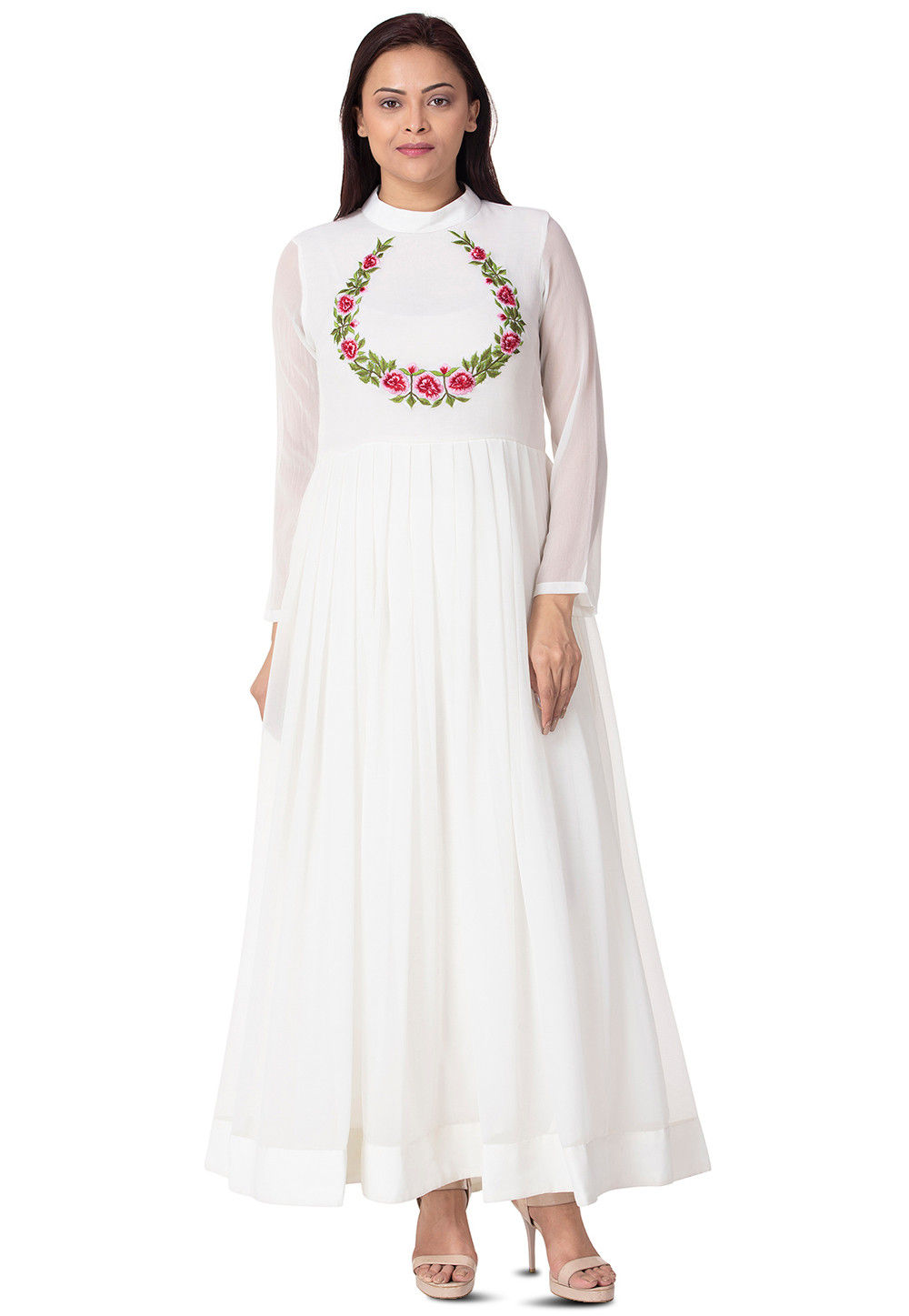 Embroidered Georgette Pleated Gown in White : TJW781