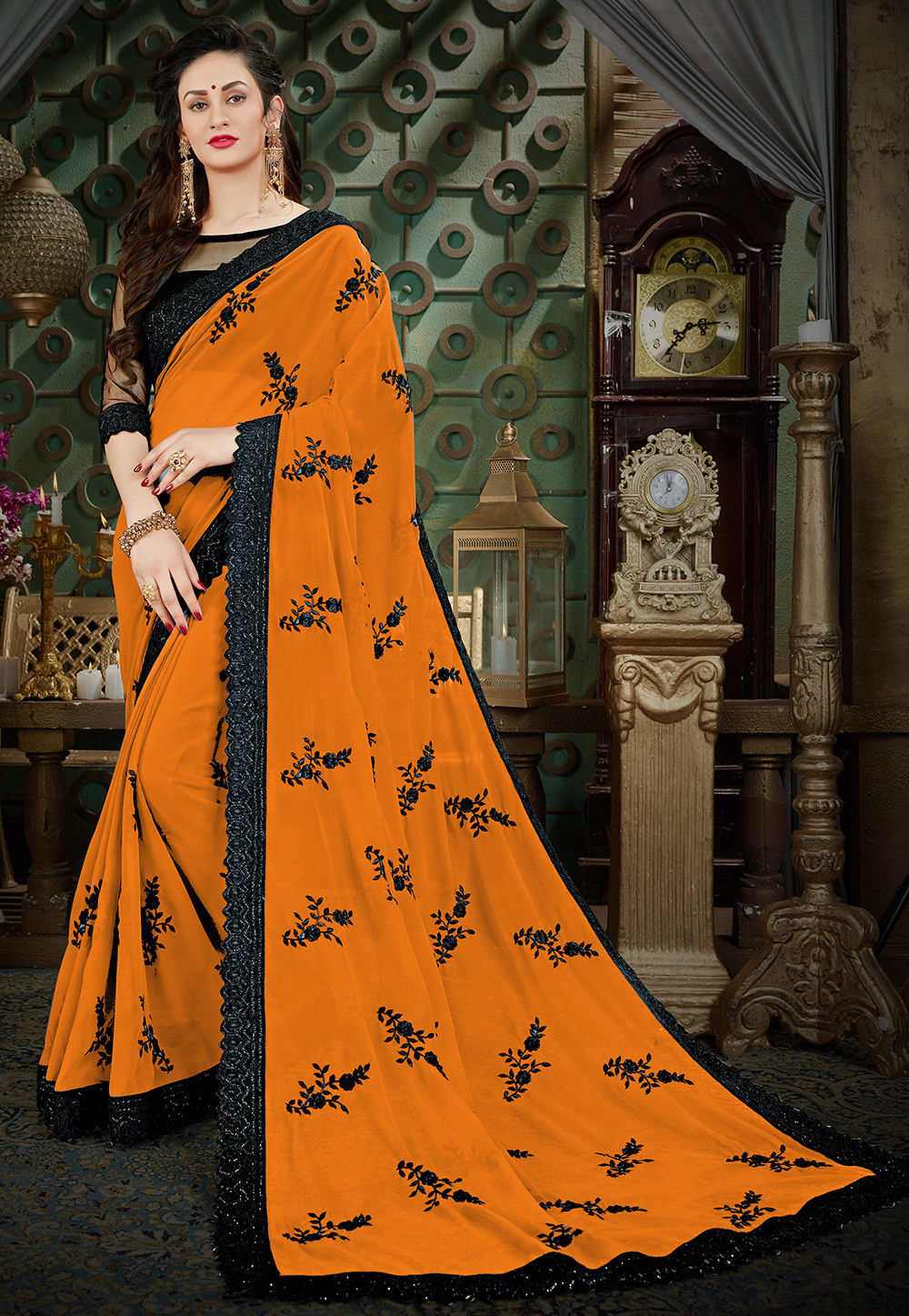 50acd29ee6 Embroidered Georgette Saree in Mustard : SGPN1102