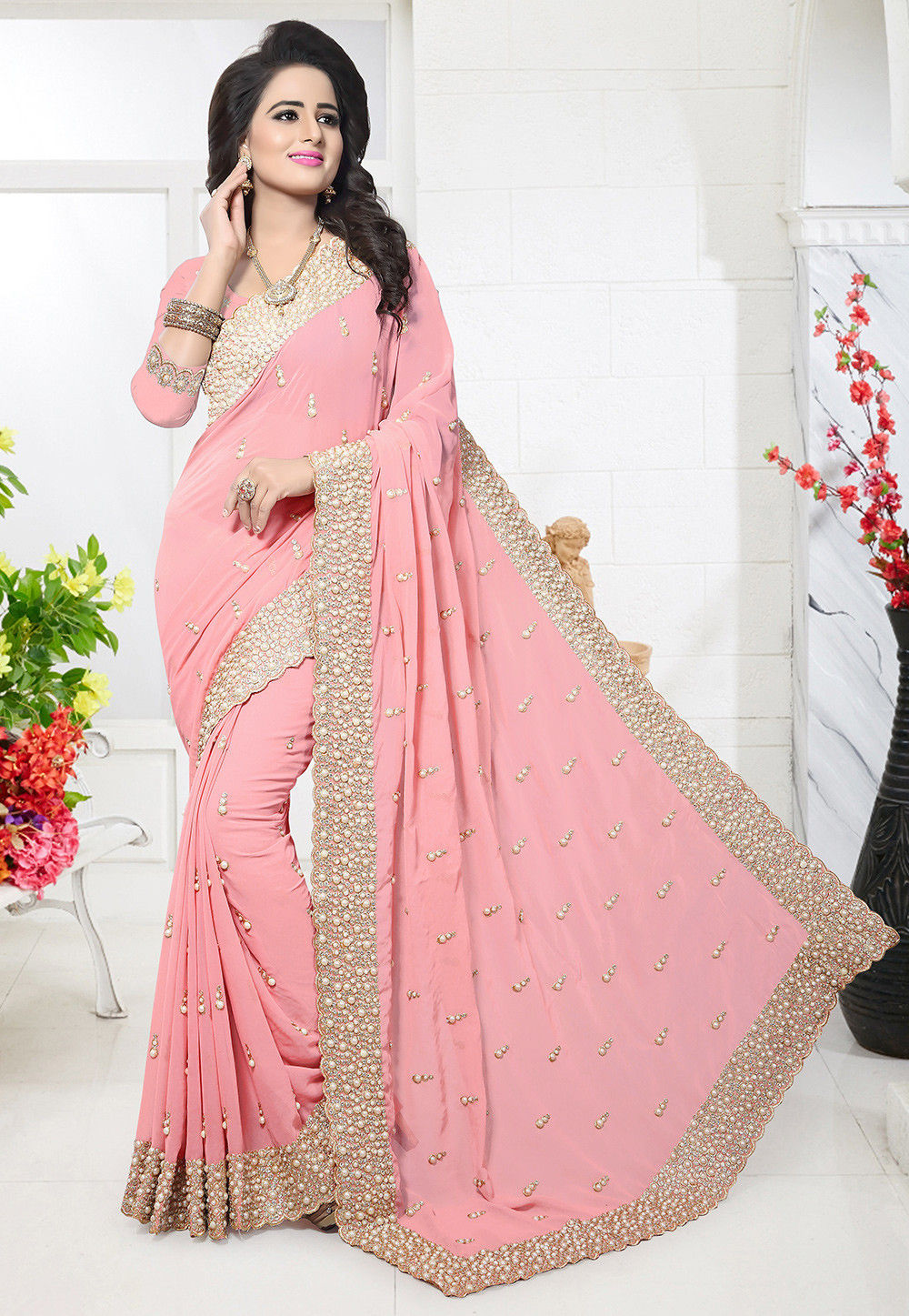 2908461897 Embroidered Georgette Saree in Peach : SSHA1198