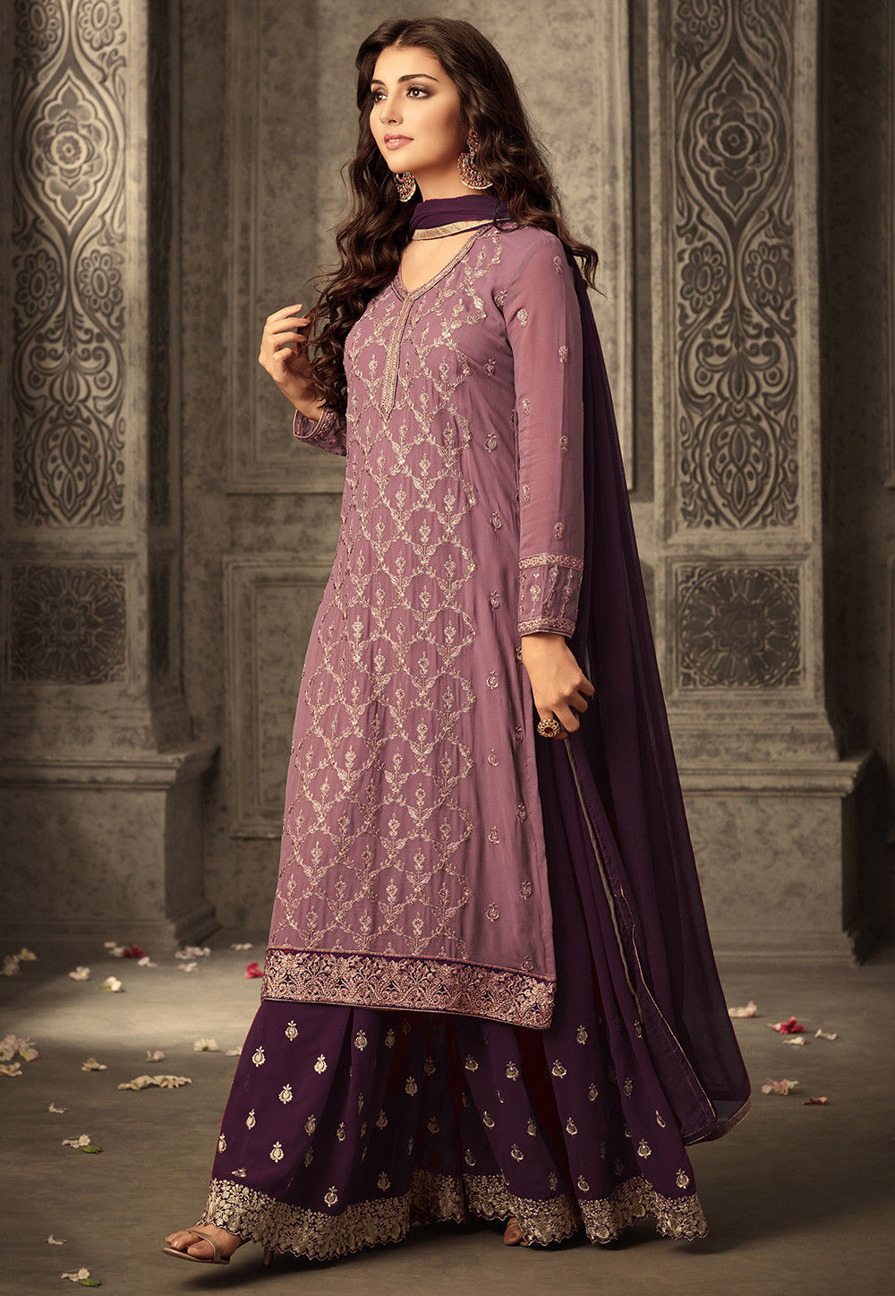 Embroidered Georgette Sharara Lehenga in Dusty Pink