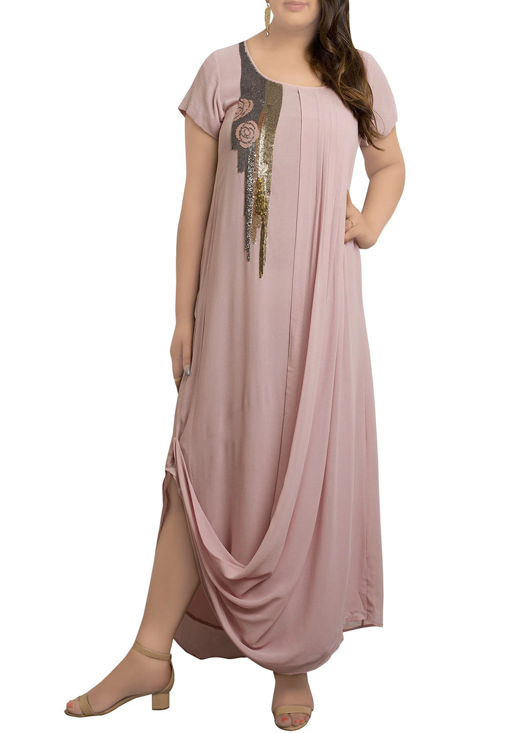 Embroidered Georgette Tunic in Dusty Pink