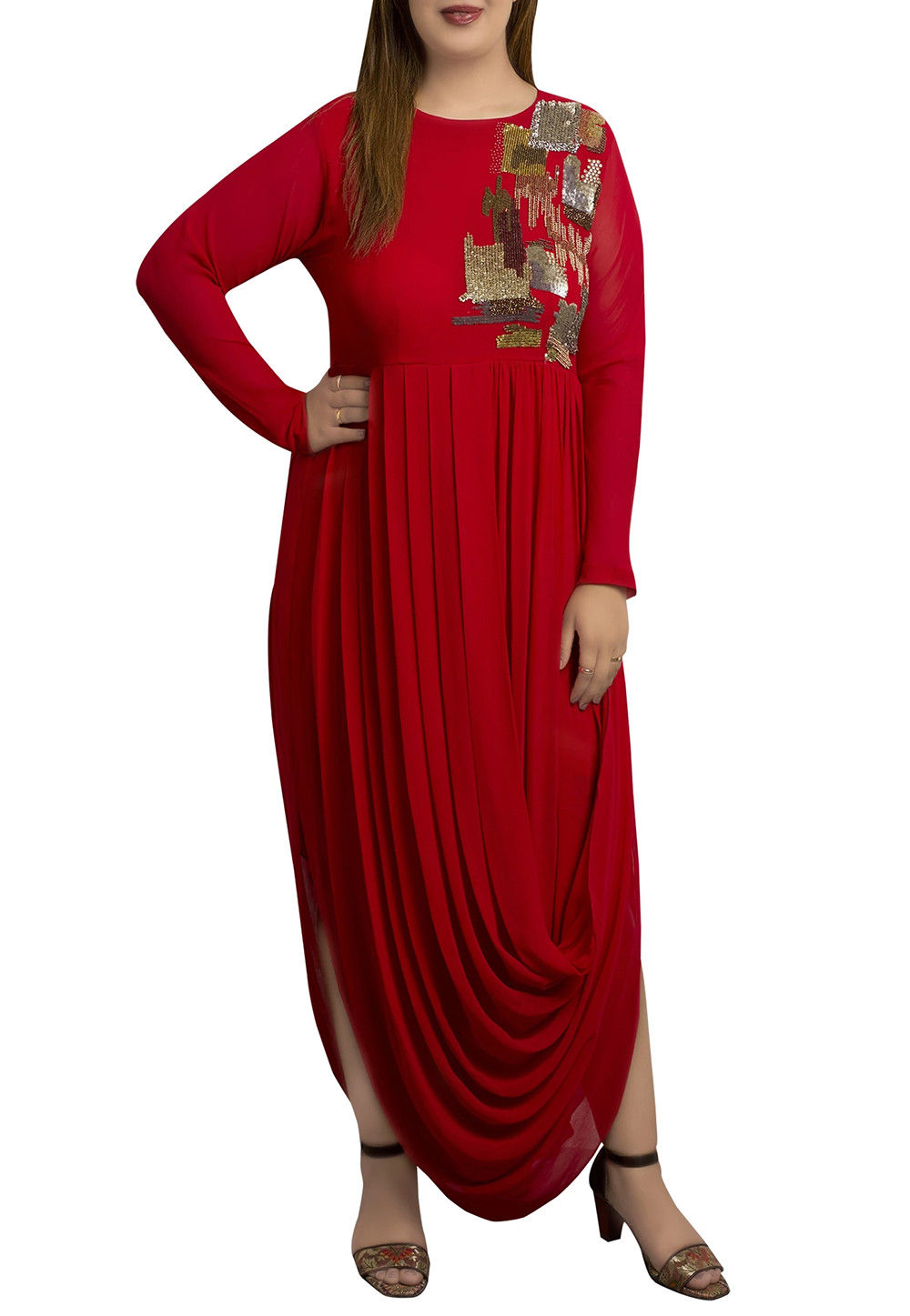 Embroidered Georgette Cowl Style Tunic in Red