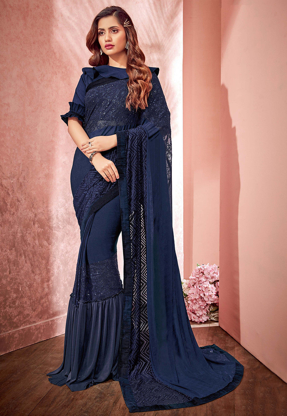 9adb106398 ... Embroidered Lycra and Net Saree in Navy Blue. Zoom