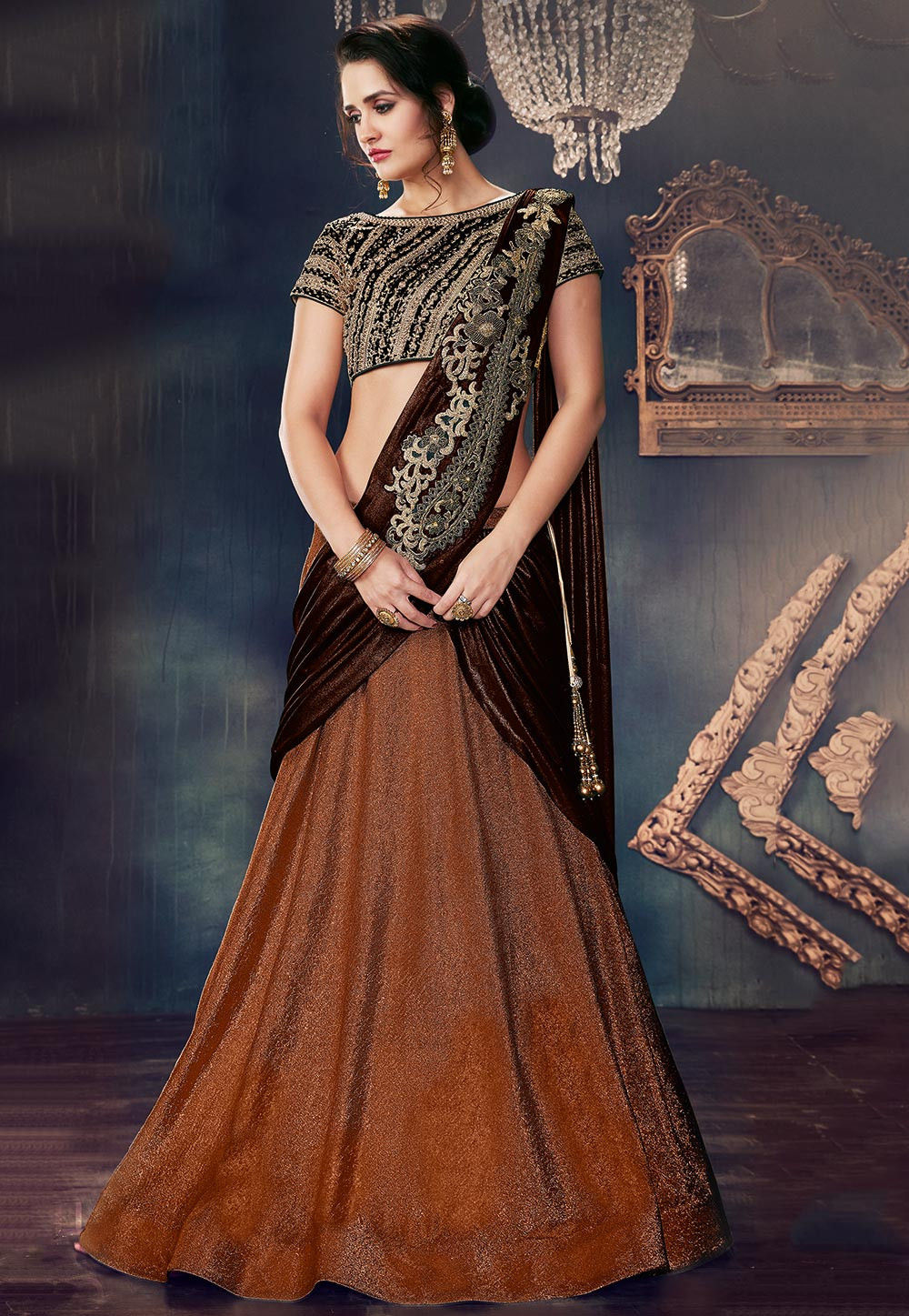 Embroidered Lycra Lehenga in Rust
