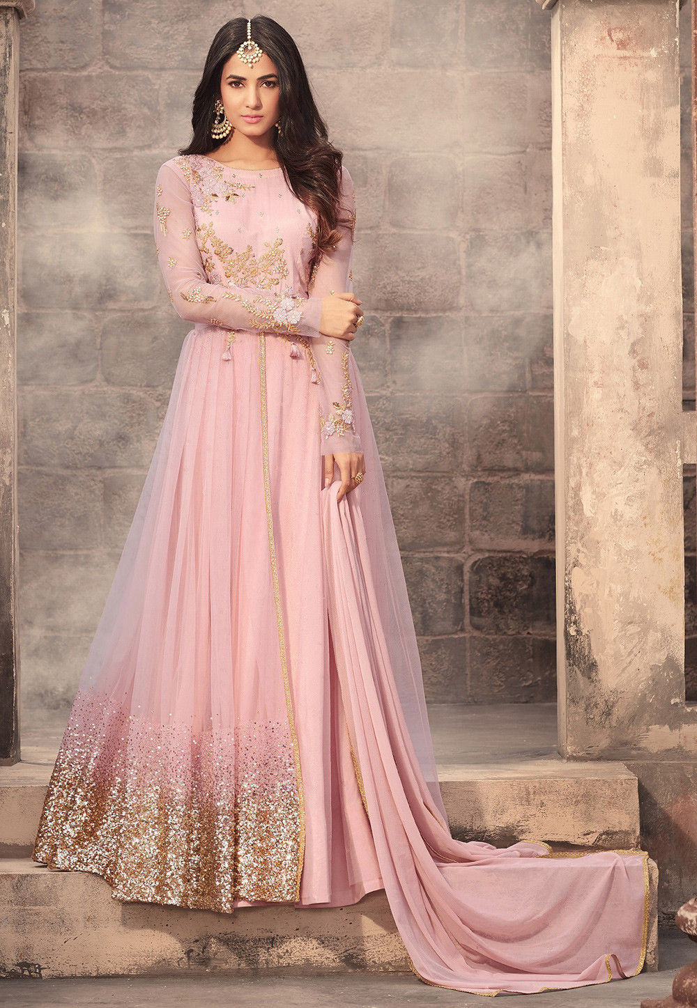Embroidered Net Abaya Style Suit in Baby Pink