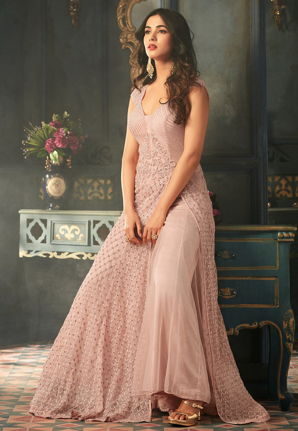 a9ebc7b5e Embroidered Net Abaya Style Suit in Baby Pink   KCH1140