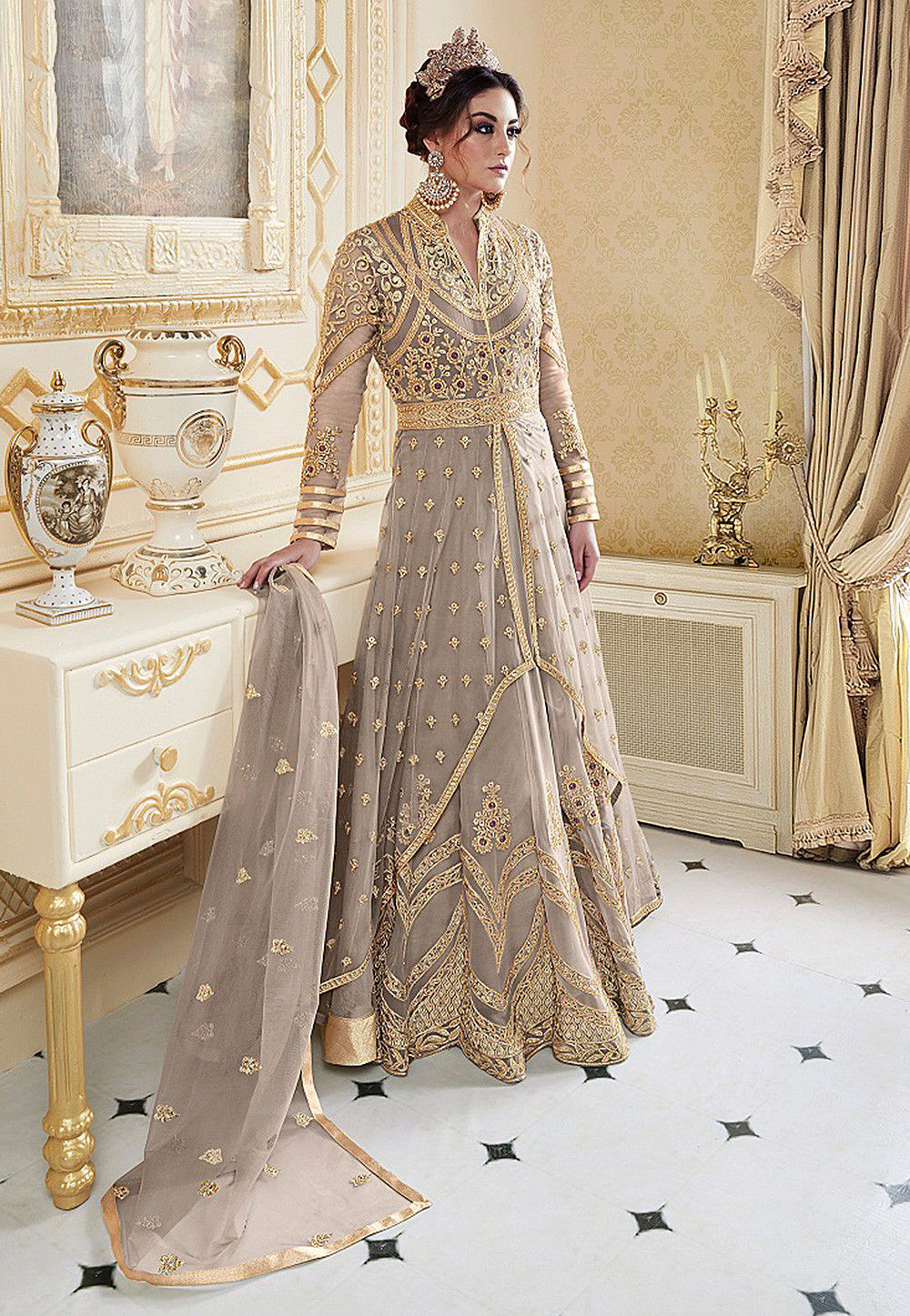 62d9f4957a ... Embroidered Net Abaya Style Suit in Fawn. Zoom