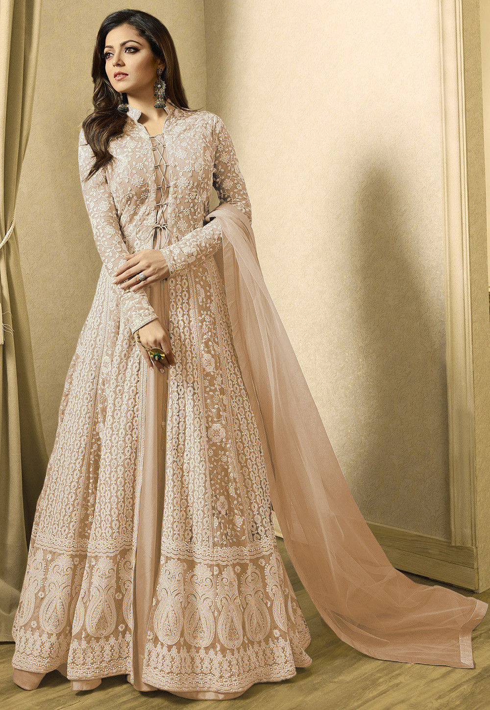 Embroidered Net Abaya Style Suit In Fawn  Kch1937-6037
