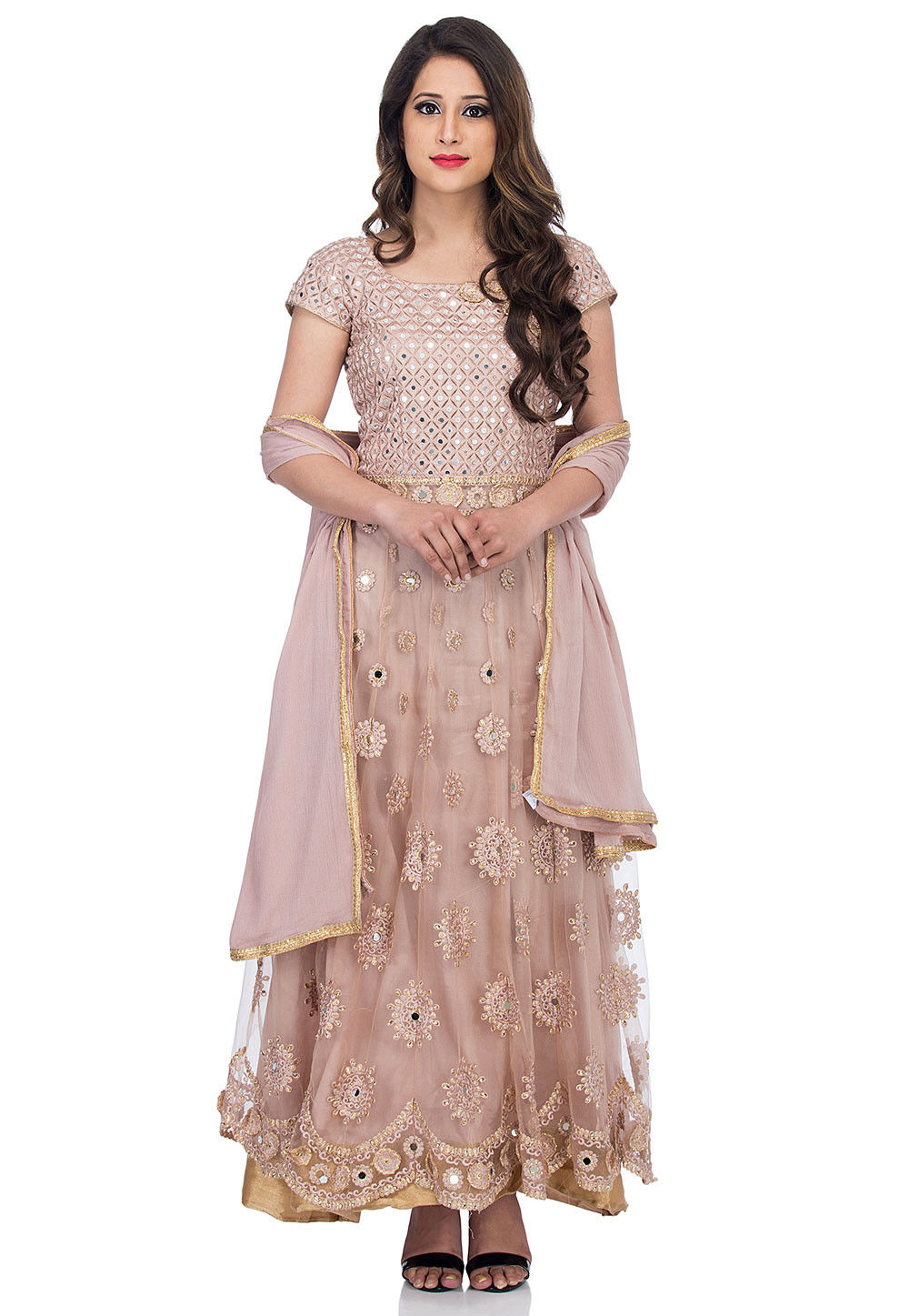 4048326fc4 Embroidered Net Abaya Style Suit in Old Rose : KUF12062