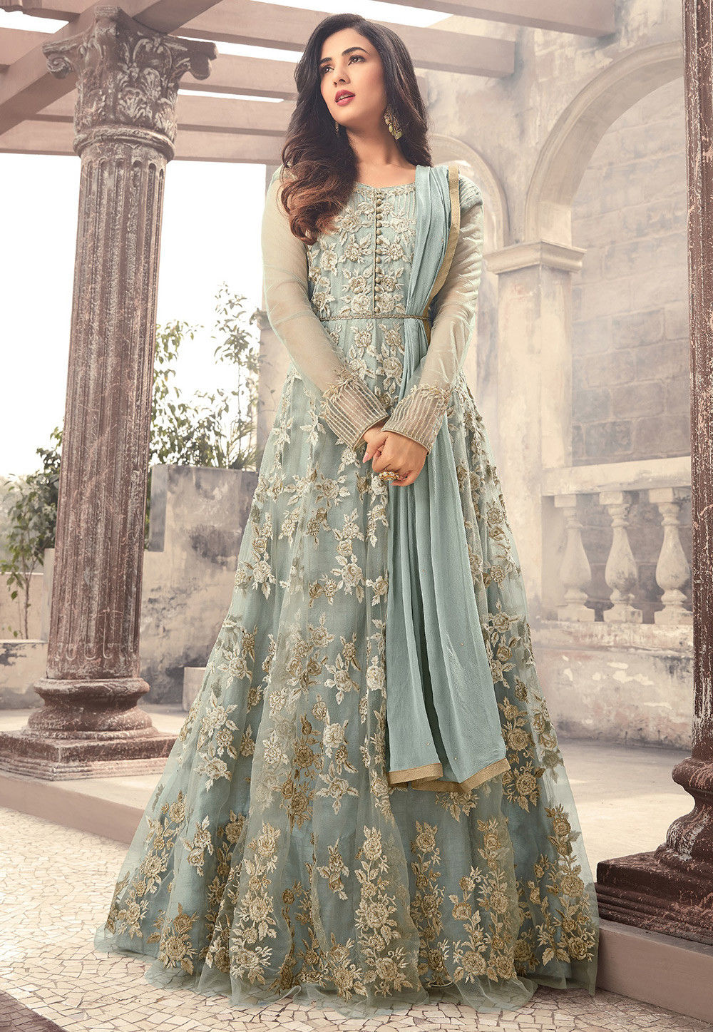 Embroidered Net Abaya Style Suit in Pastel Blue : KCH1010