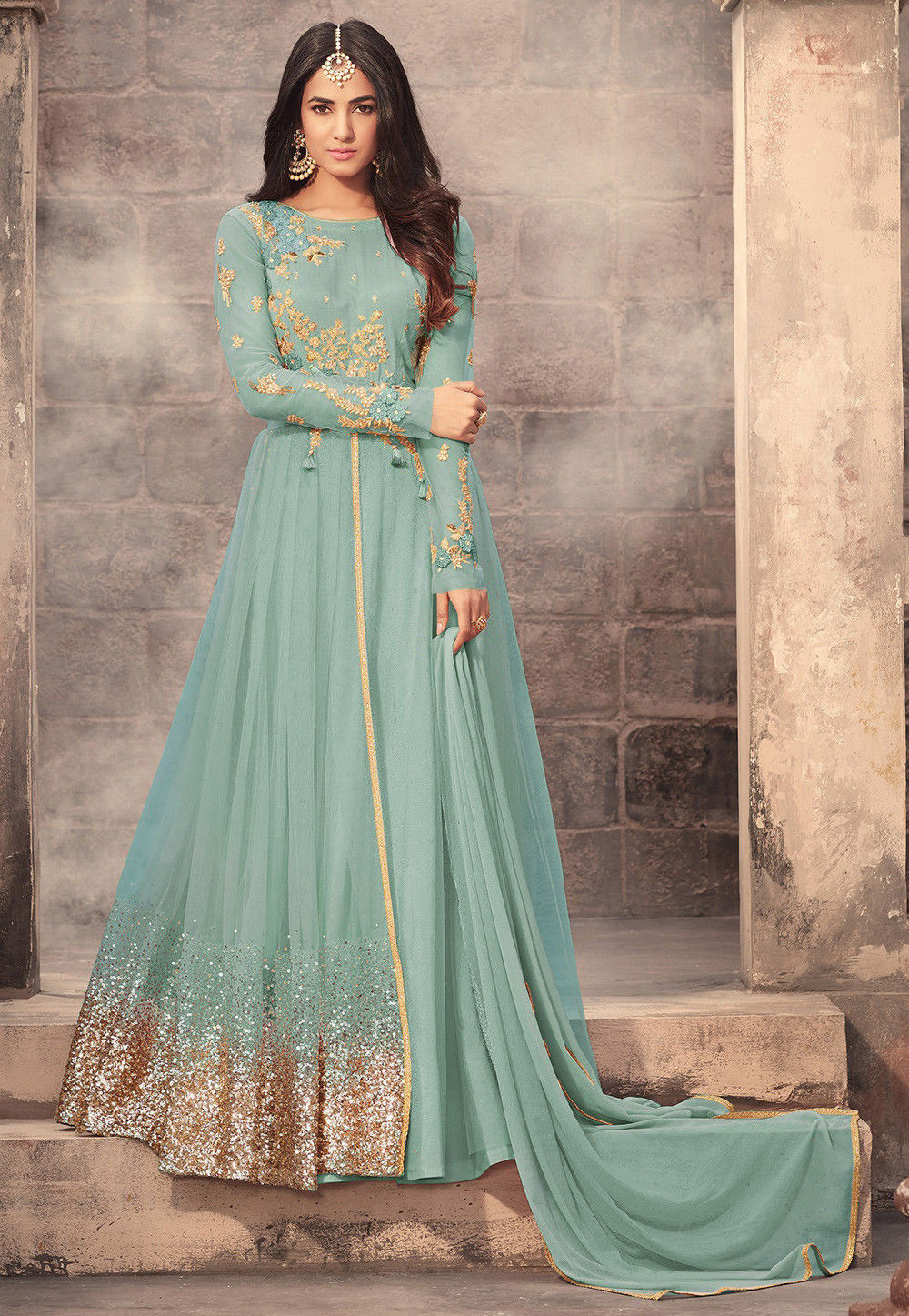 c690b5147461 Embroidered Net Abaya Style Suit in Sky Blue   KCH1052
