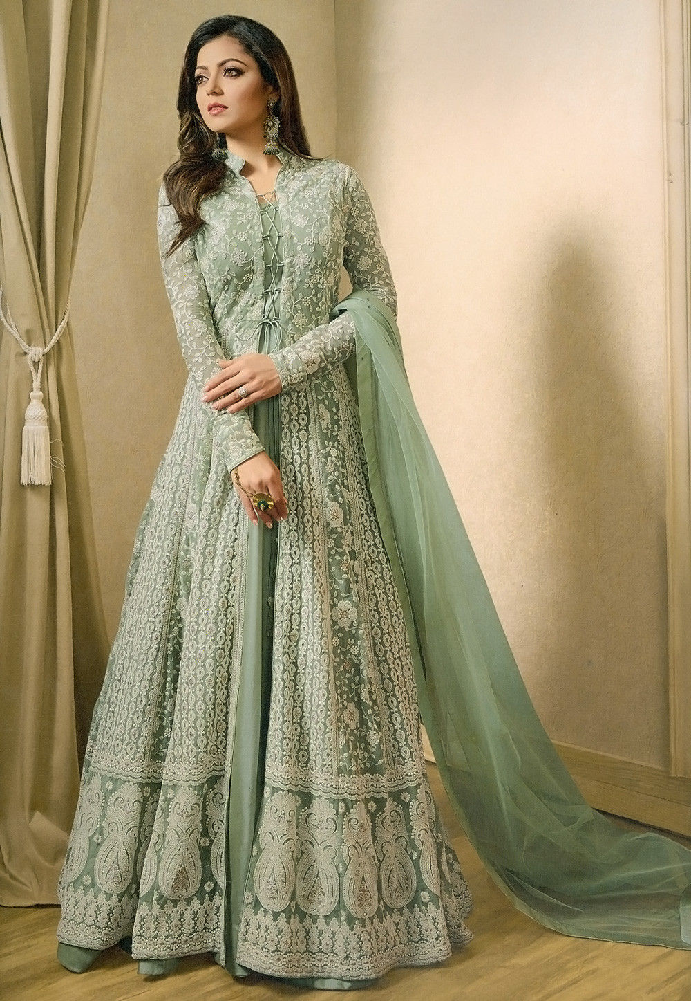 a53d01d9551 Embroidered Net Abaya Style Suit in Pastel Green   KCH1293