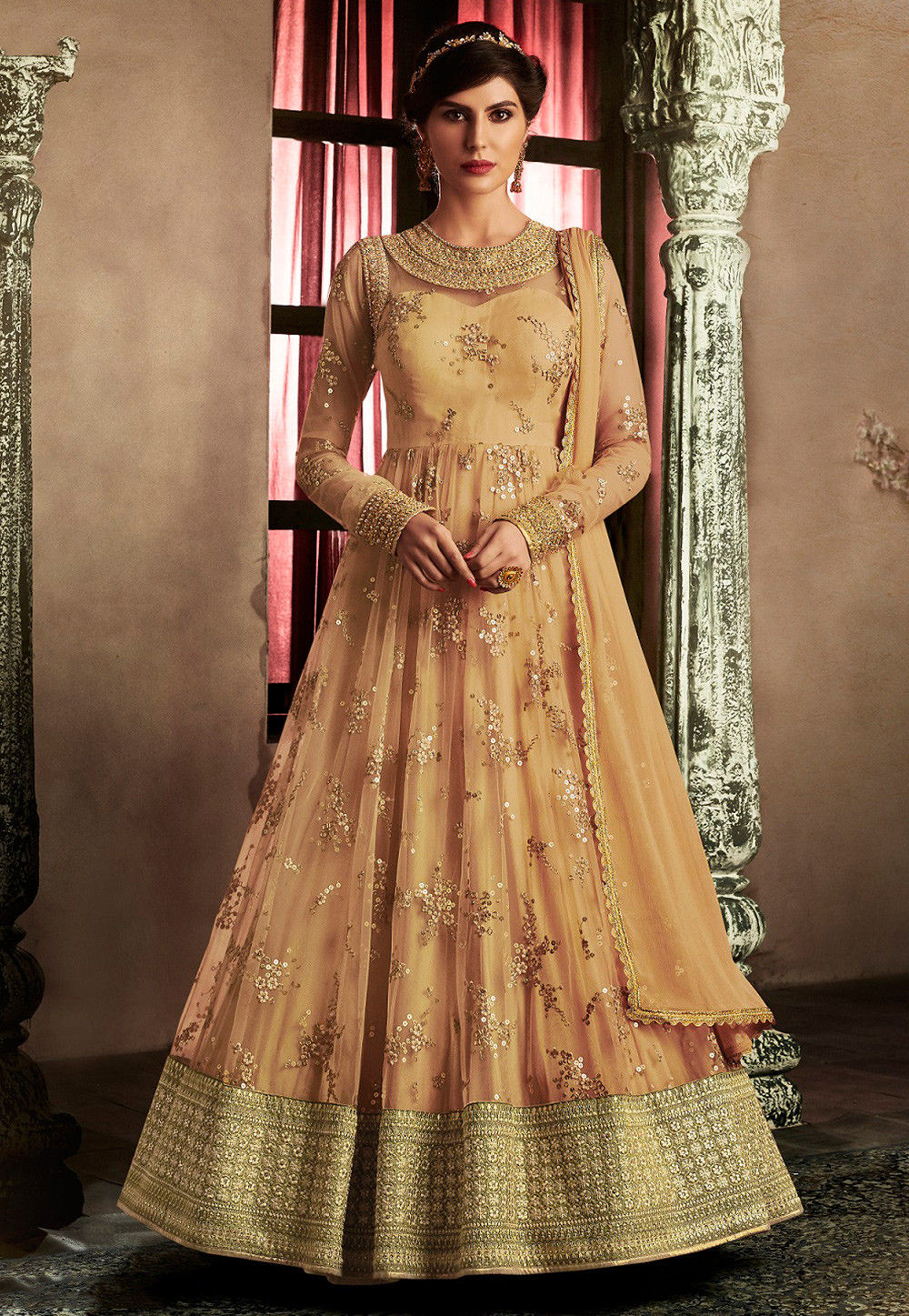 Embroidered Net Abaya Style Suit in Pastel Orange