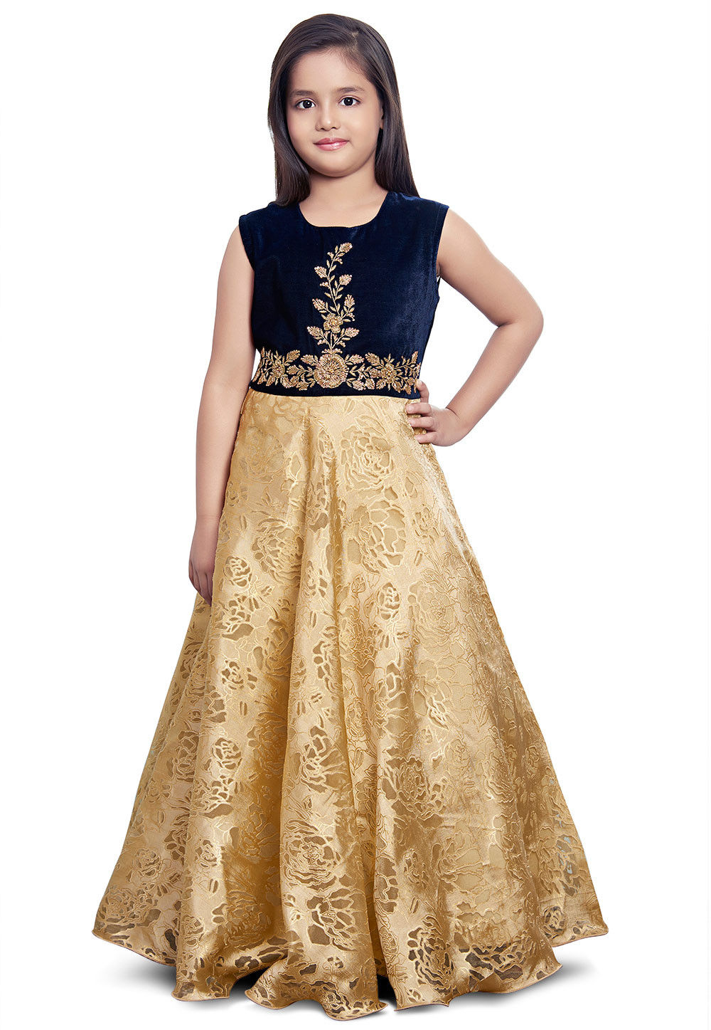 Embroidered Net Jacquard Gown in Beige and Navy Blue : UKU810