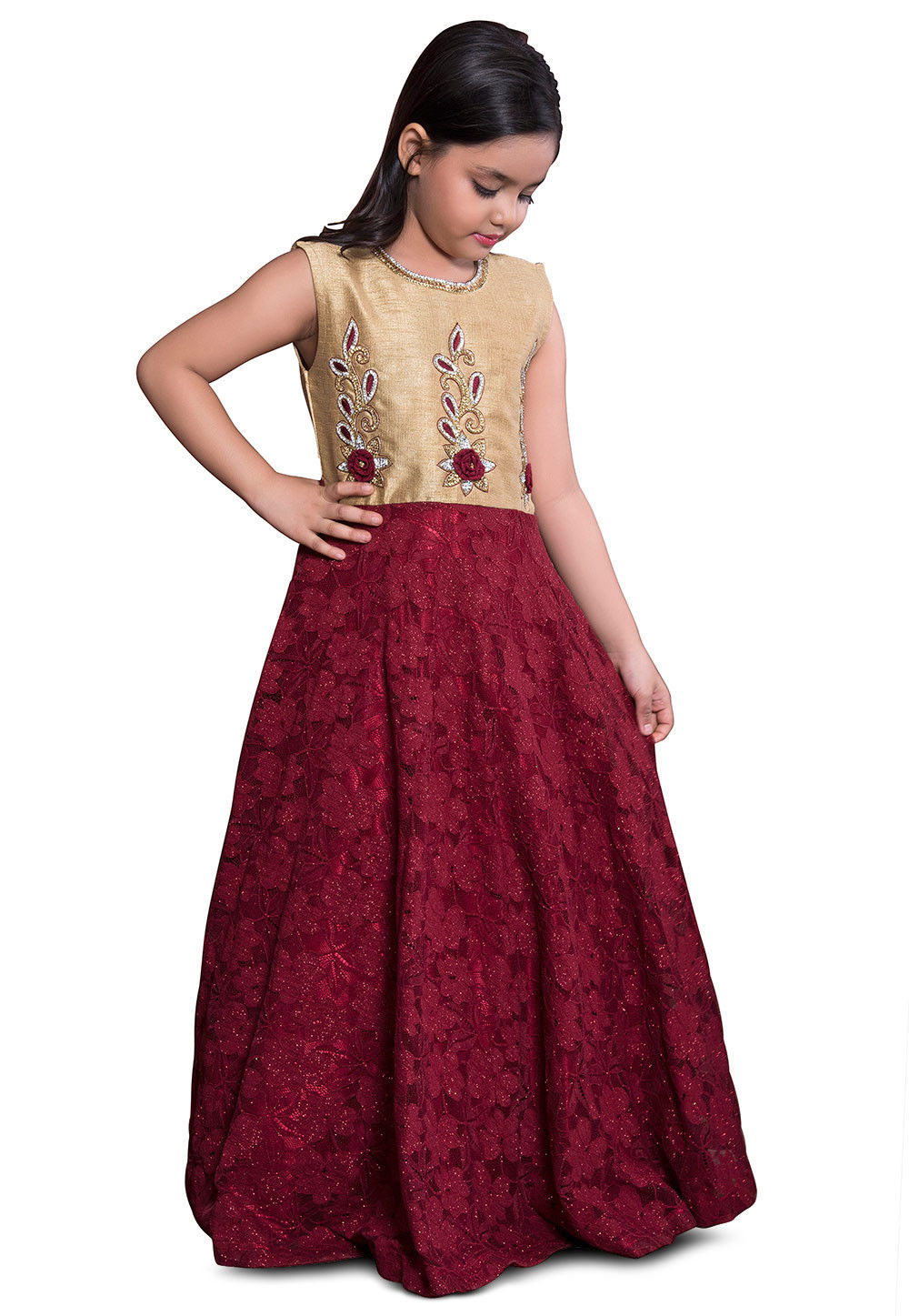 Embroidered Net Lehenga In Peach Lqm76: Embroidered Net Jacquard Gown In Maroon And Beige : UKU806