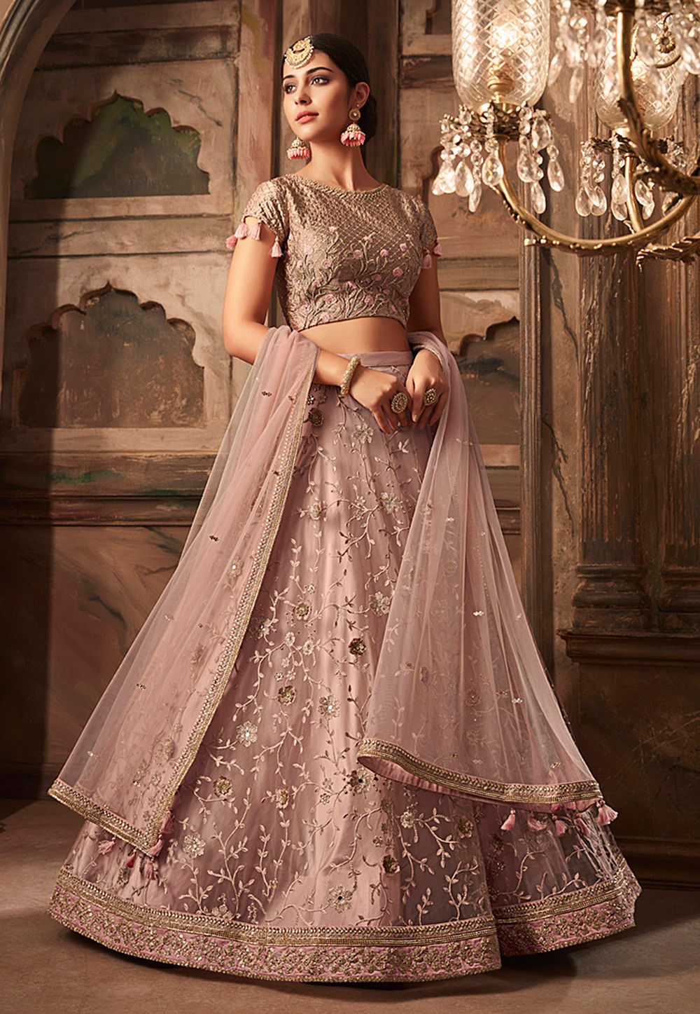 Embroidered Net Lehenga In Dusty Pink Lqm264
