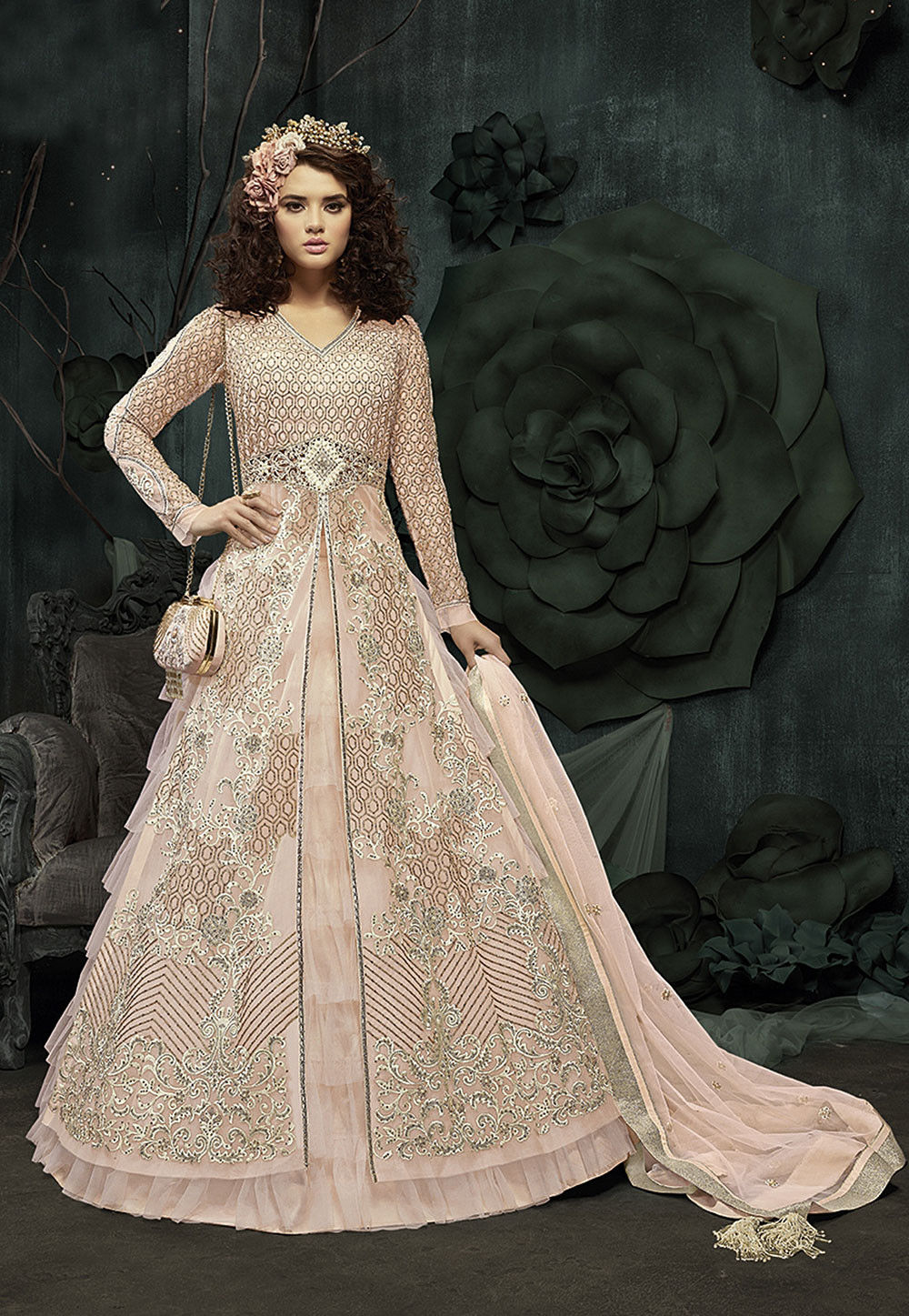 06af2acde Embroidered Net Lehenga in Light Peach   LCC216