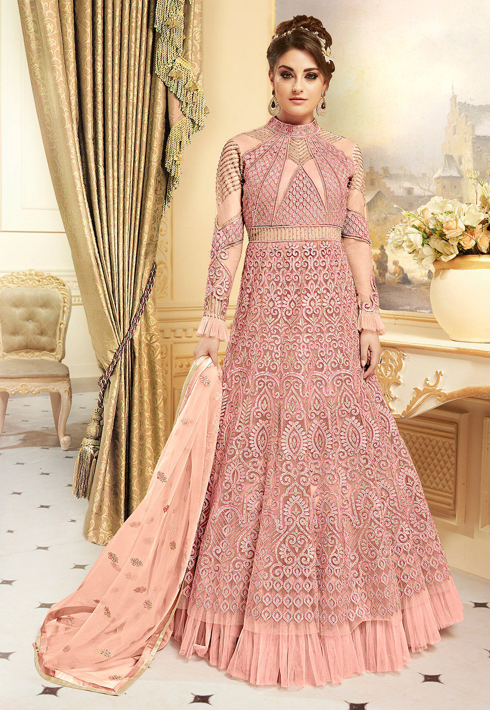 362a161e9 Embroidered Net Lehenga in Light Pink   LCC236