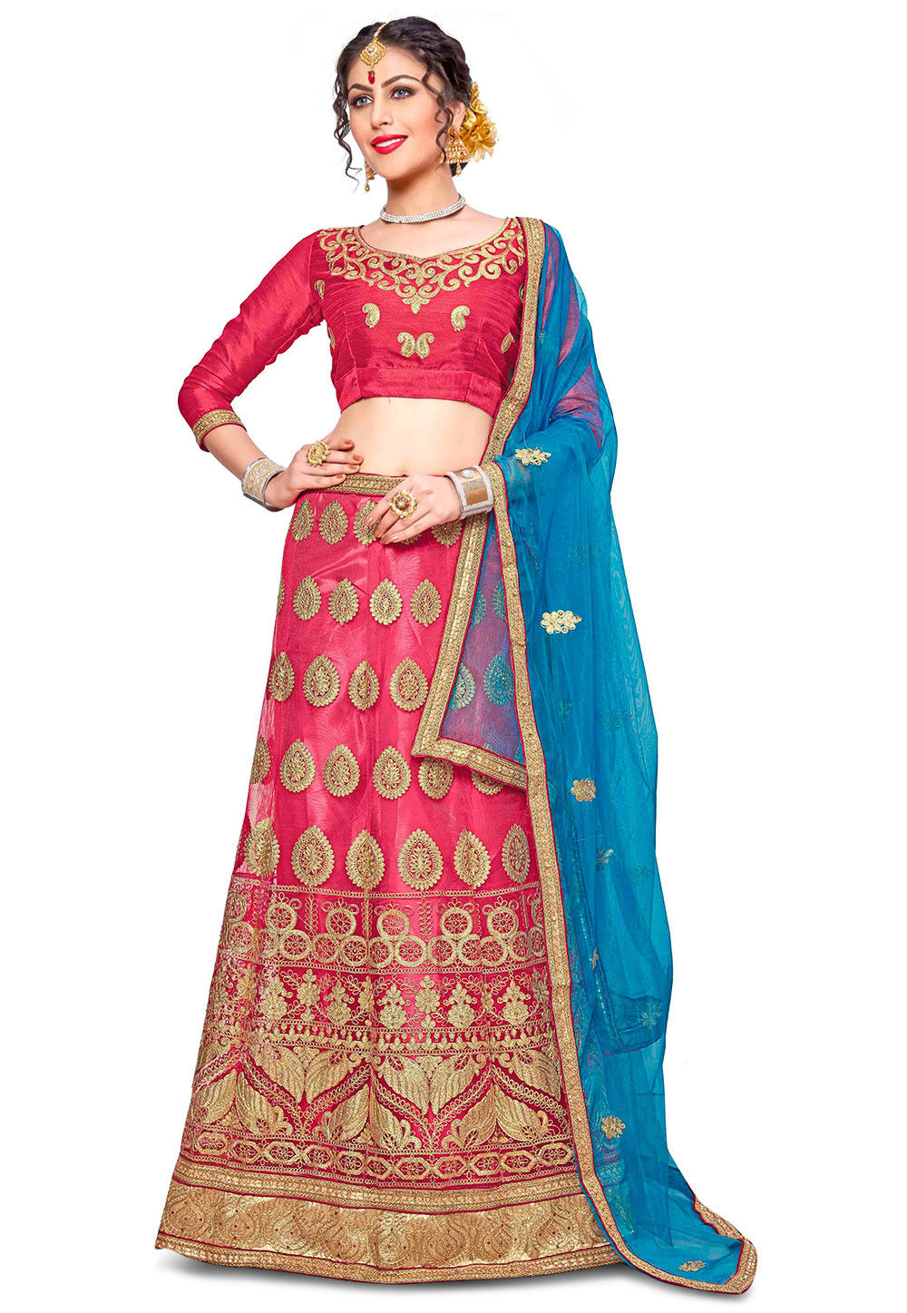 Embroidered Net Lehenga In Peach Lqm76: Embroidered Net Lehenga In Pink : LZR347