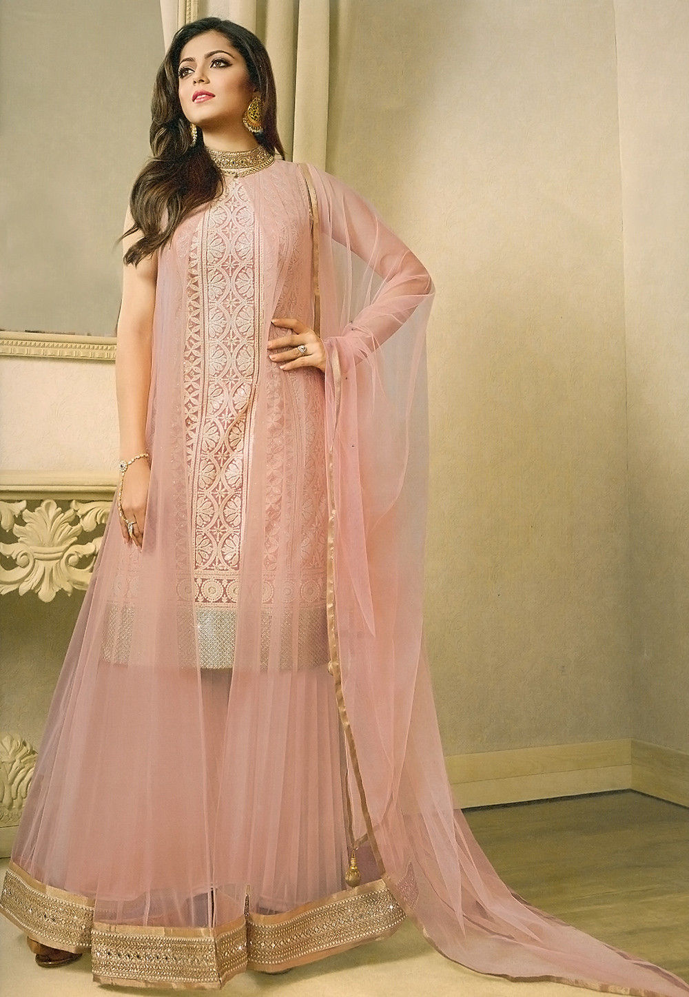 0e935fee6a ... Salwar Kameez; Embroidered Net Pakistani Suit in Baby Pink. Zoom