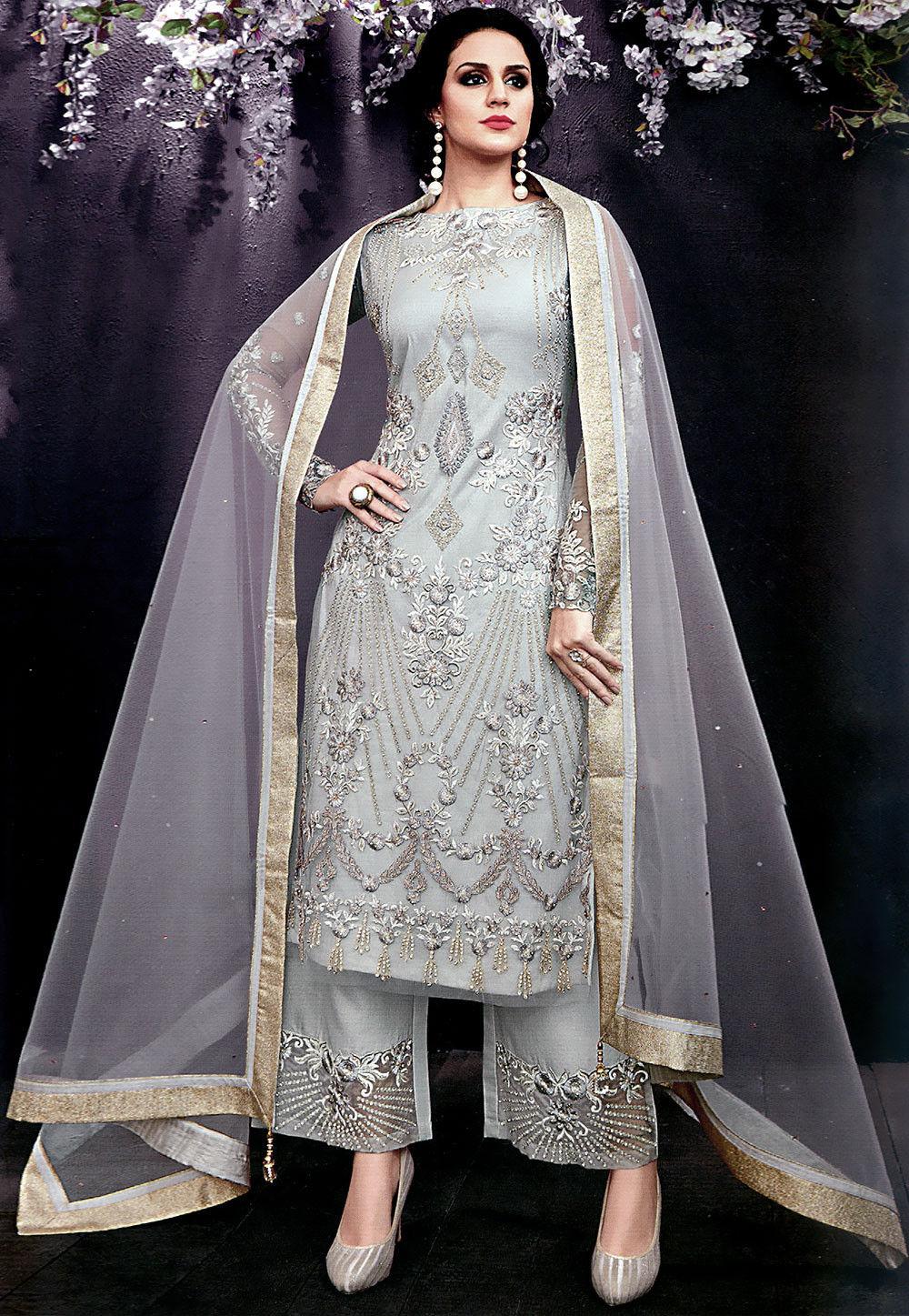 e19d11a3d3a Embroidered Net Pakistani Suit in Light Grey   KCH1811