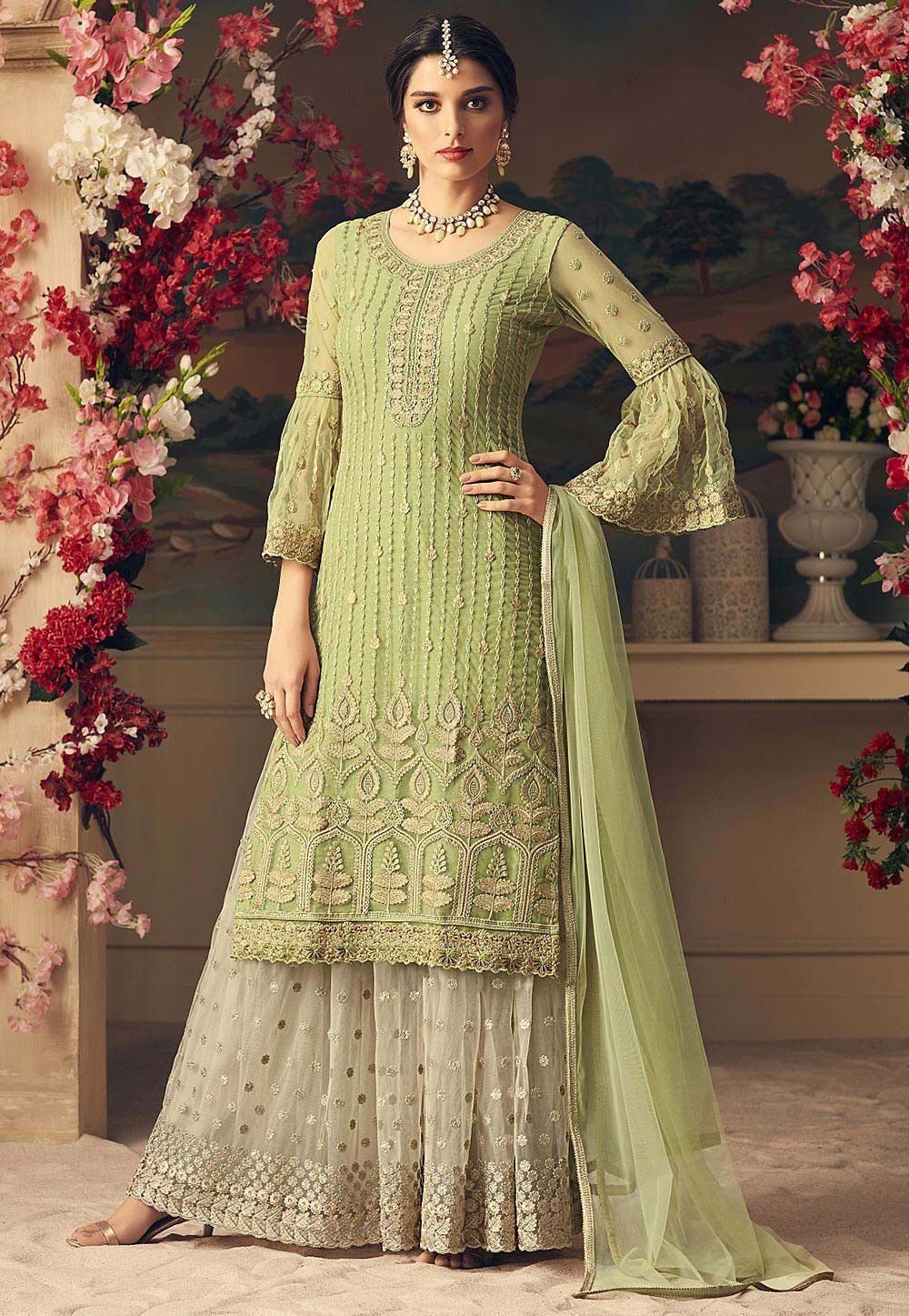 d548d7555b ... Embroidered Net Pakistani Suit in Light Olive Green. Zoom