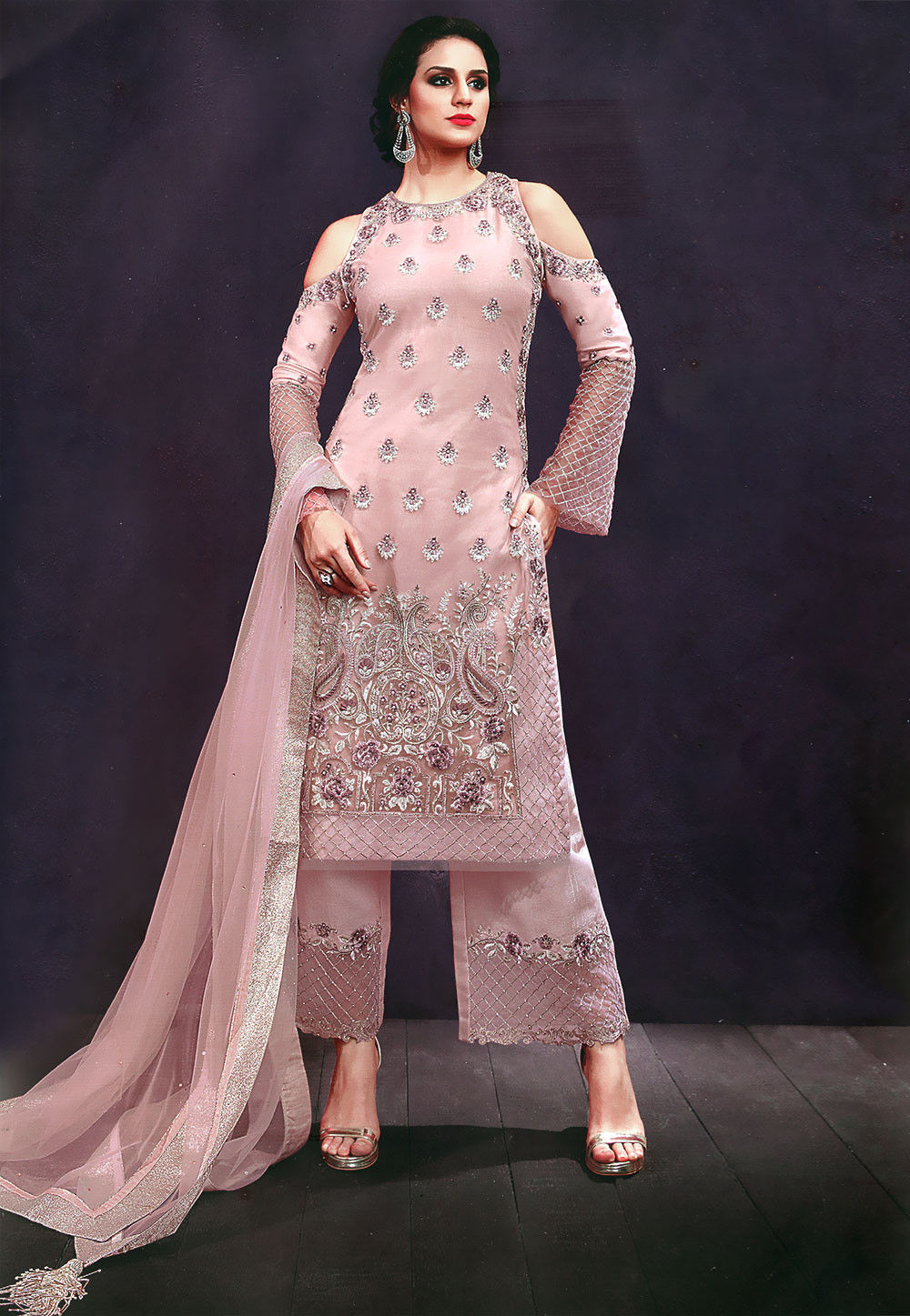 Embroidered Net Pakistani Suit in Light Pink : KCH1815