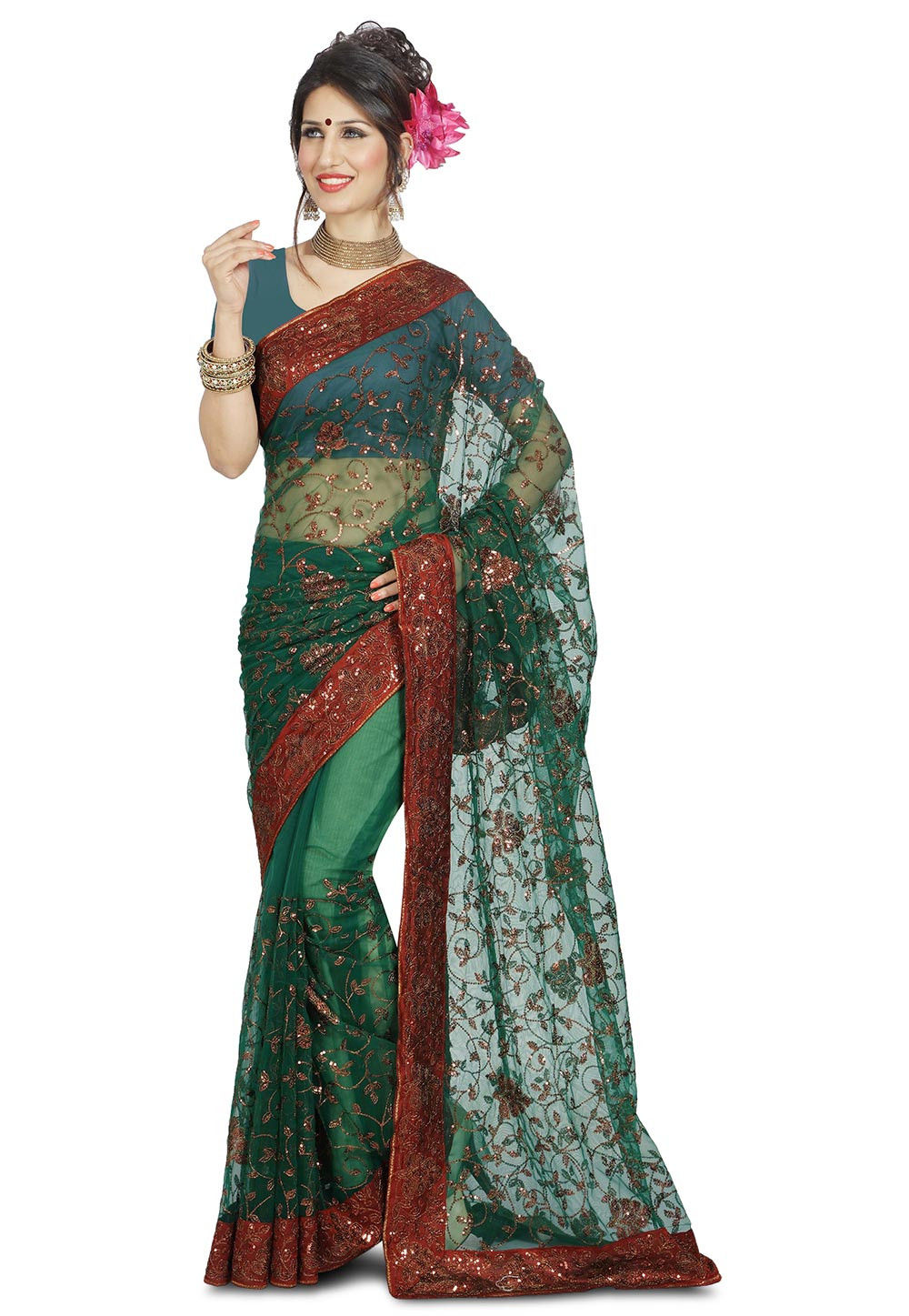 Embroidered Net Lehenga In Peach Lqm76: Embroidered Net Saree In Green : SYC7142
