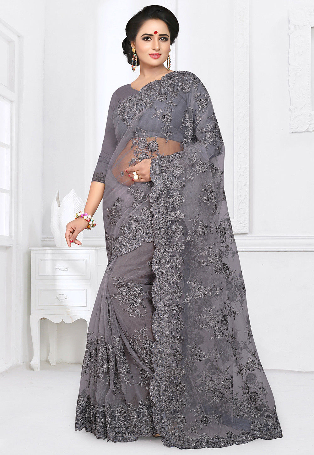 Embroidered Net Lehenga In Peach Lqm76: Embroidered Net Saree In Grey : SYUA207