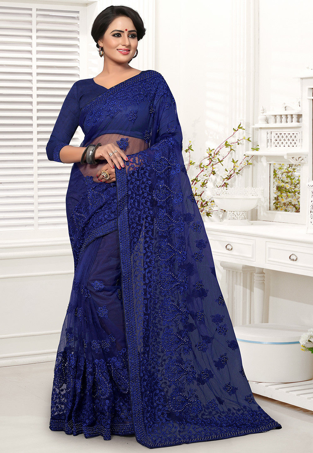 Embroidered Net Lehenga In Peach Lqm76: Embroidered Net Saree In Navy Blue : SCBA58