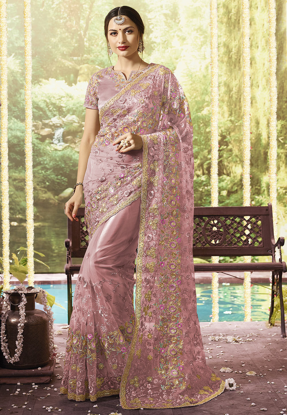 9c55f7aa1faee6 Embroidered Net Saree in Pink   SFS909