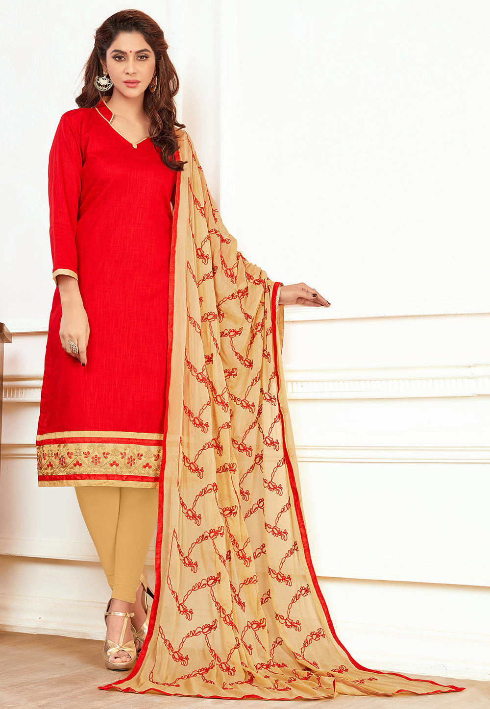 Plain Cotton Straight Suit in Red