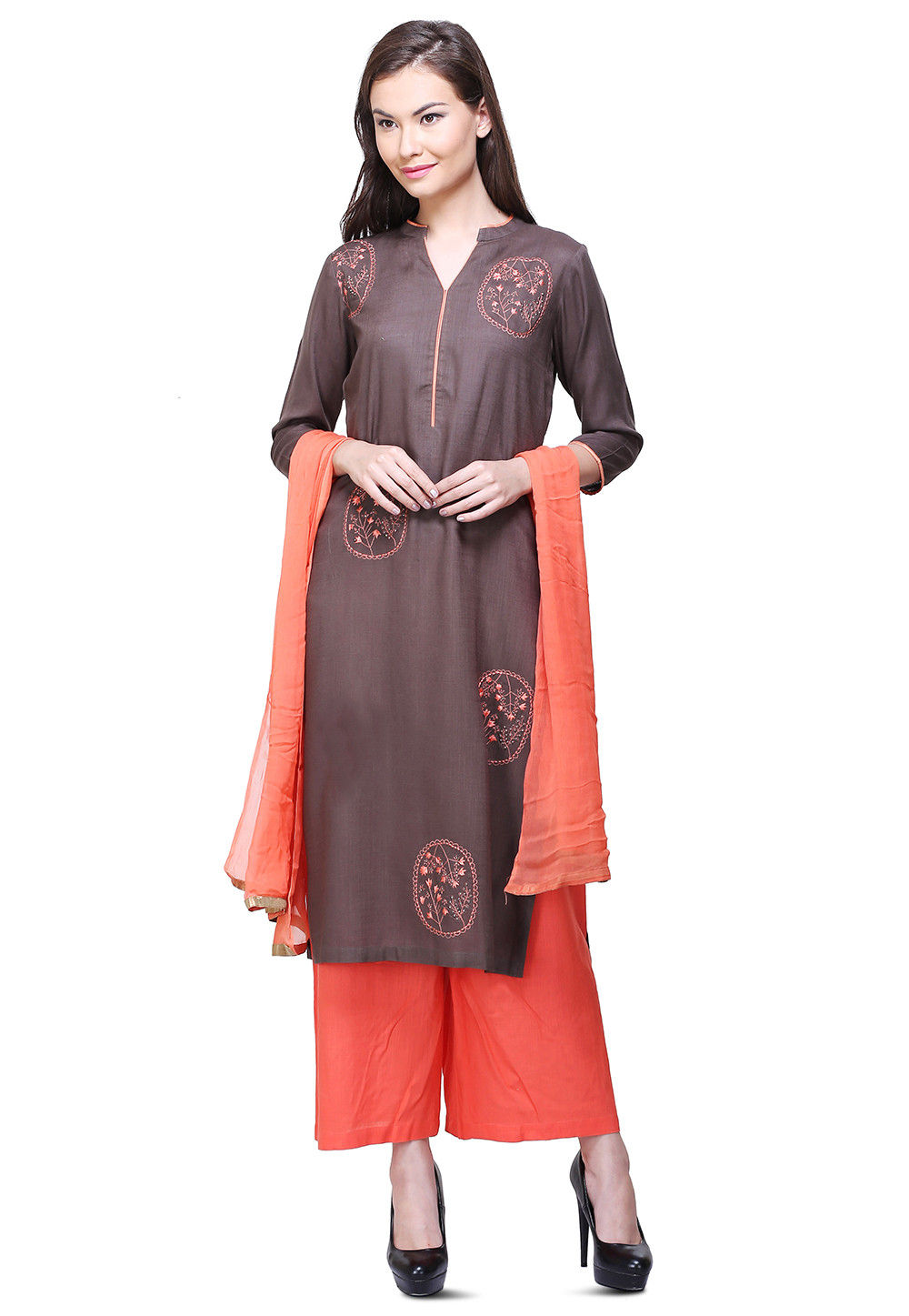 Embroidered Rayon Cotton Pakistani Suit in Grey