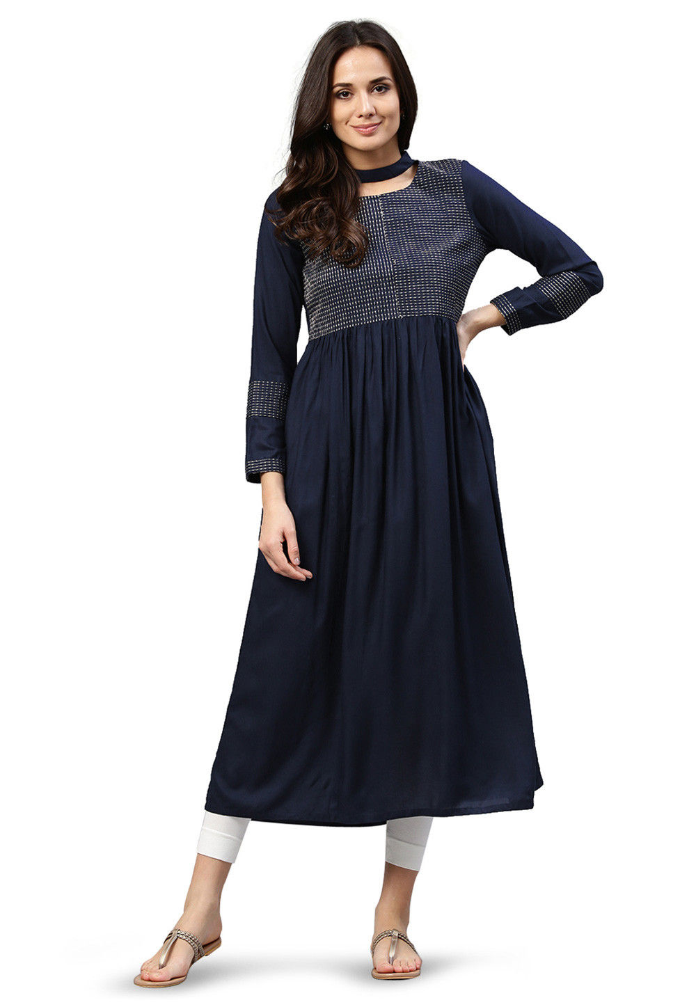Embroidered Rayon Long Kurta in Navy Blue
