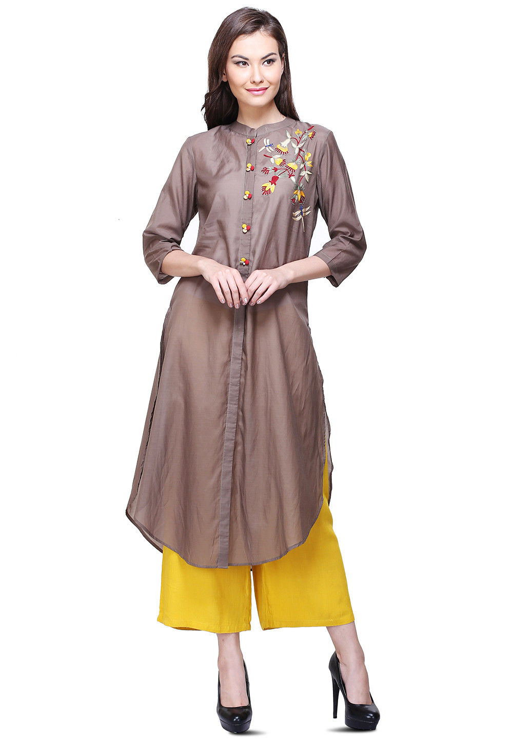 Embroidered Rayon Shirt Style Kurta in Brown