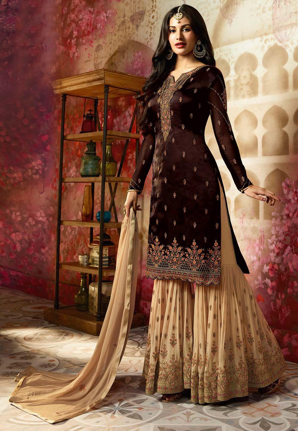 3e4bf424d0 Embroidered Satin Georgette Pakistani Suit in Black : KCH2088