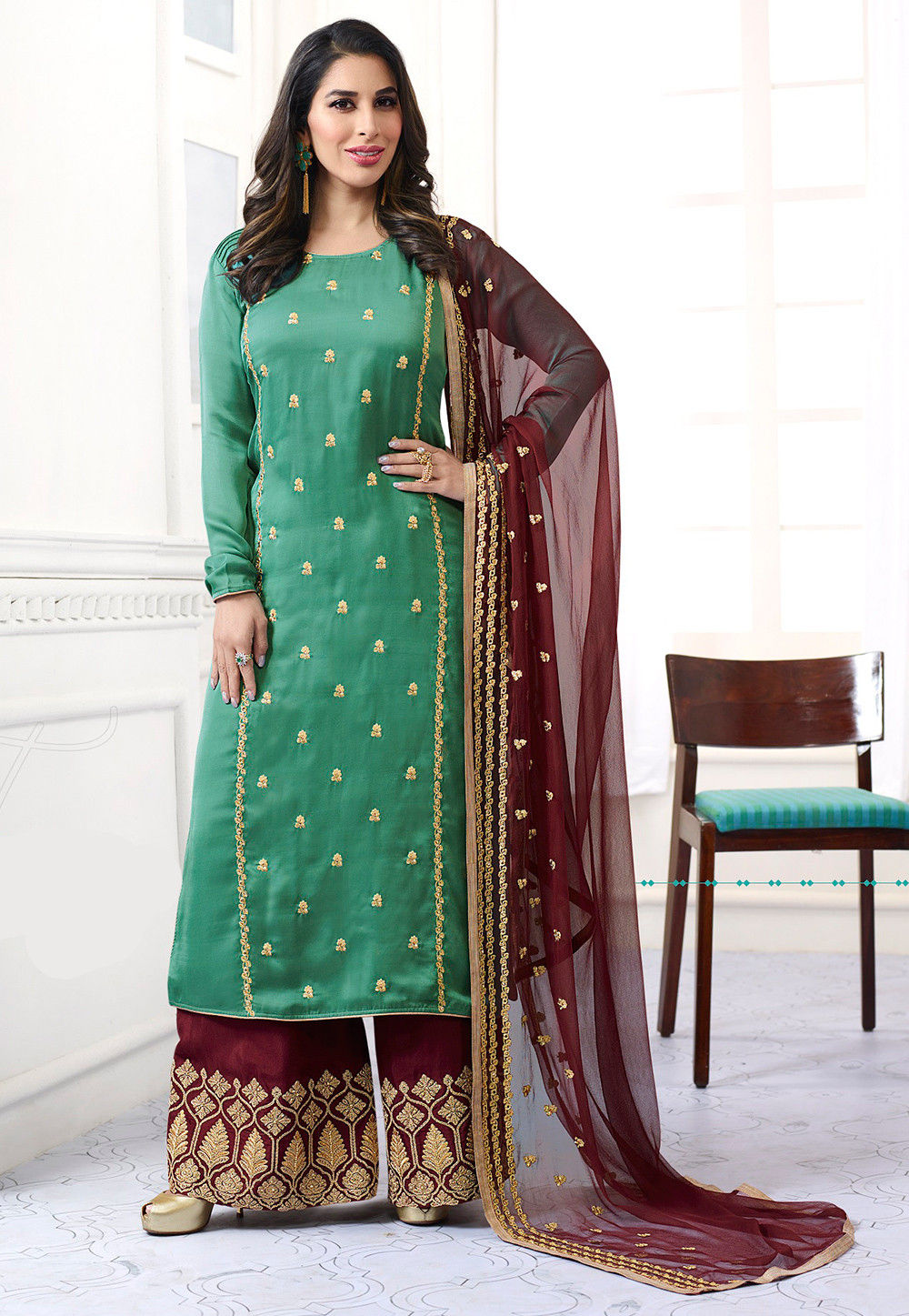 Embroidered Satin Georgette Pakistani Suit in Light Teal Green