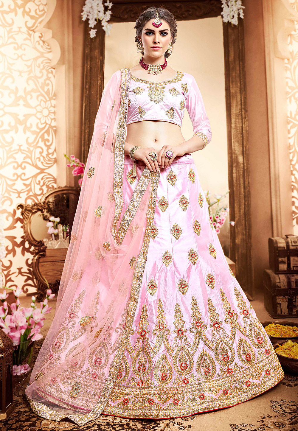 Embroidered Satin Lehenga In Baby Pink Lzr419
