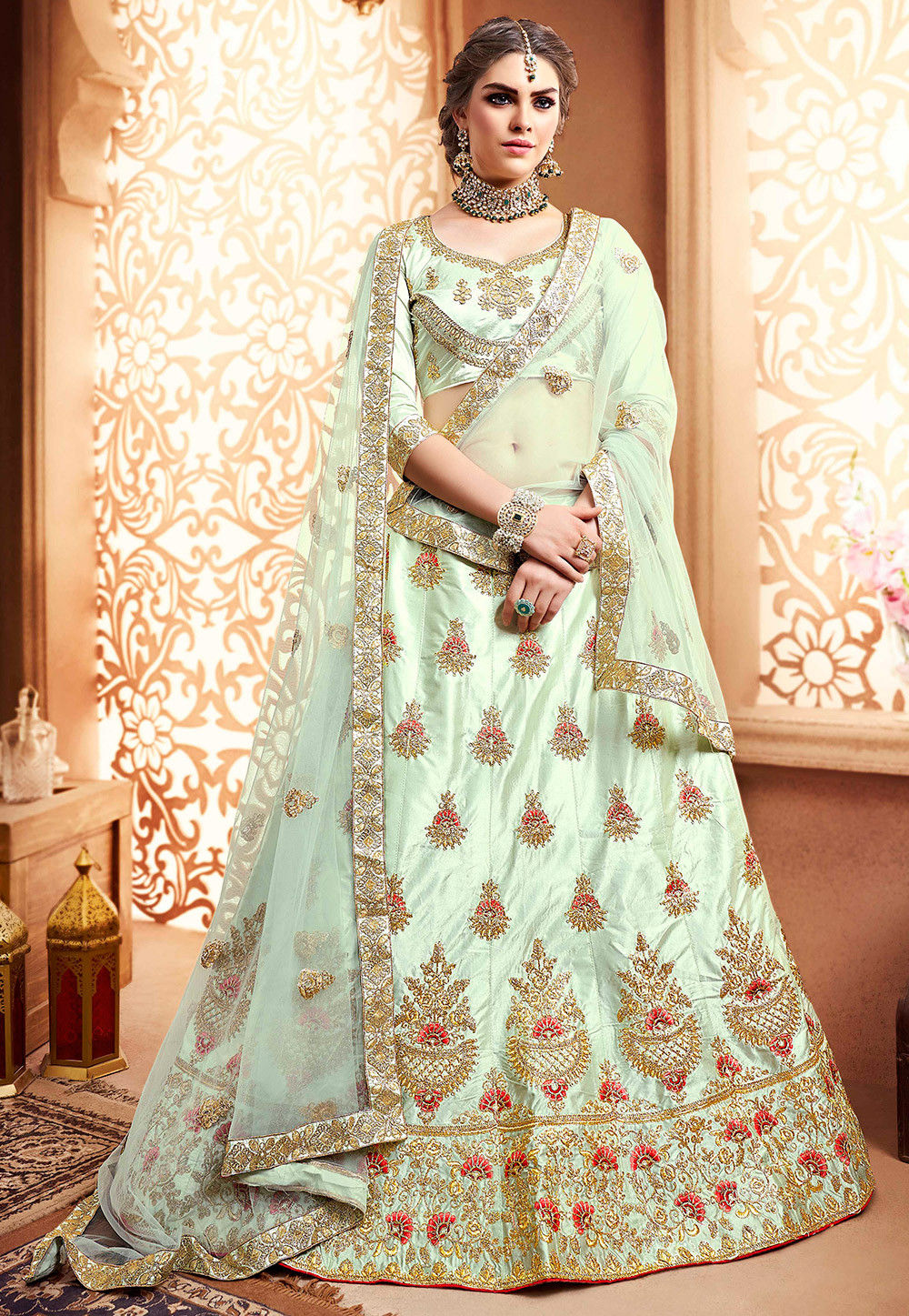 Embroidered Satin Lehenga in Pastel Green
