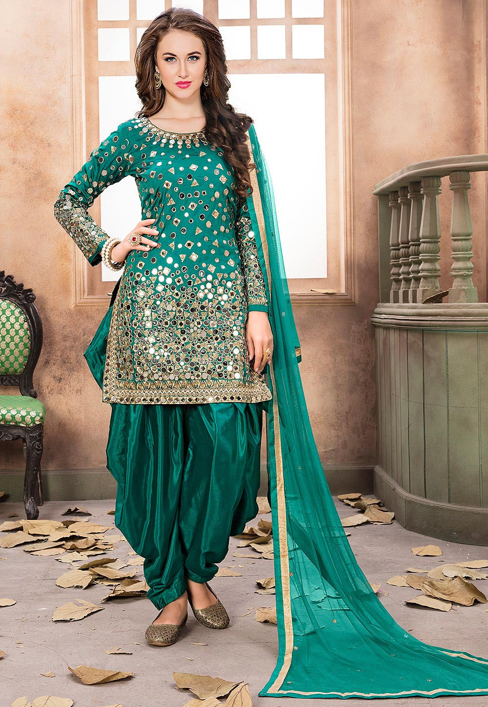 f7d75dc75b18a Embroidered Taffeta Silk Punjabi Suit in Teal Green : KCH973