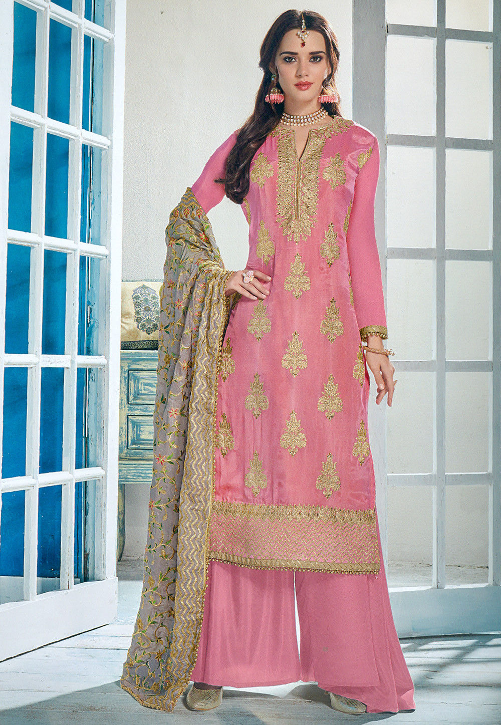 6e0754f9e1 ... Embroidered Upada Silk Pakistani Suit in Pink. Zoom