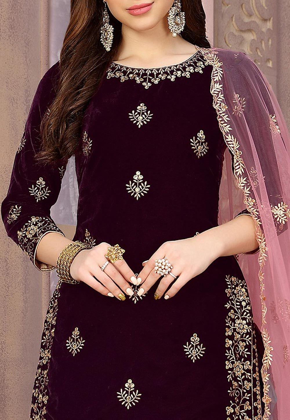 Embroidered Velvet Punjabi Suit In Wine Kch4619
