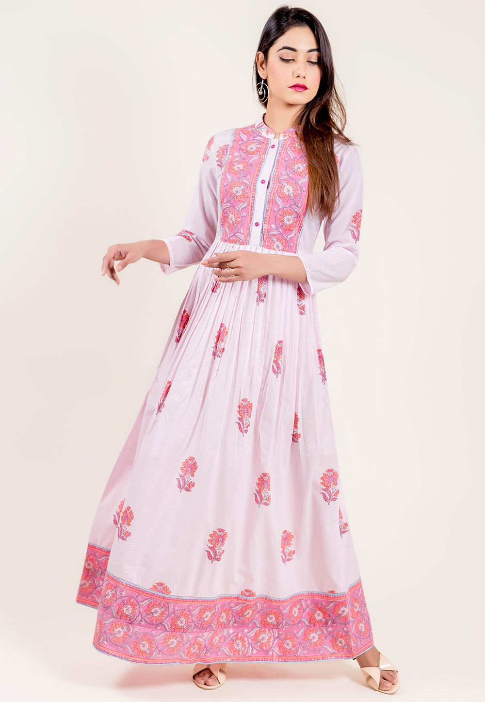 09f143eec0 ... Floral Printed Cotton Gown in White and Pink. Zoom