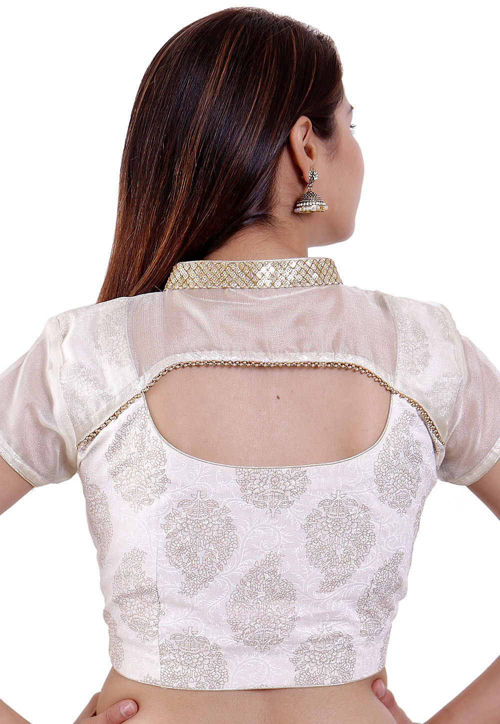 dfe6c483f0669 Golden Printed Cotton Padded Blouse in Off White · Zoom. View Similar