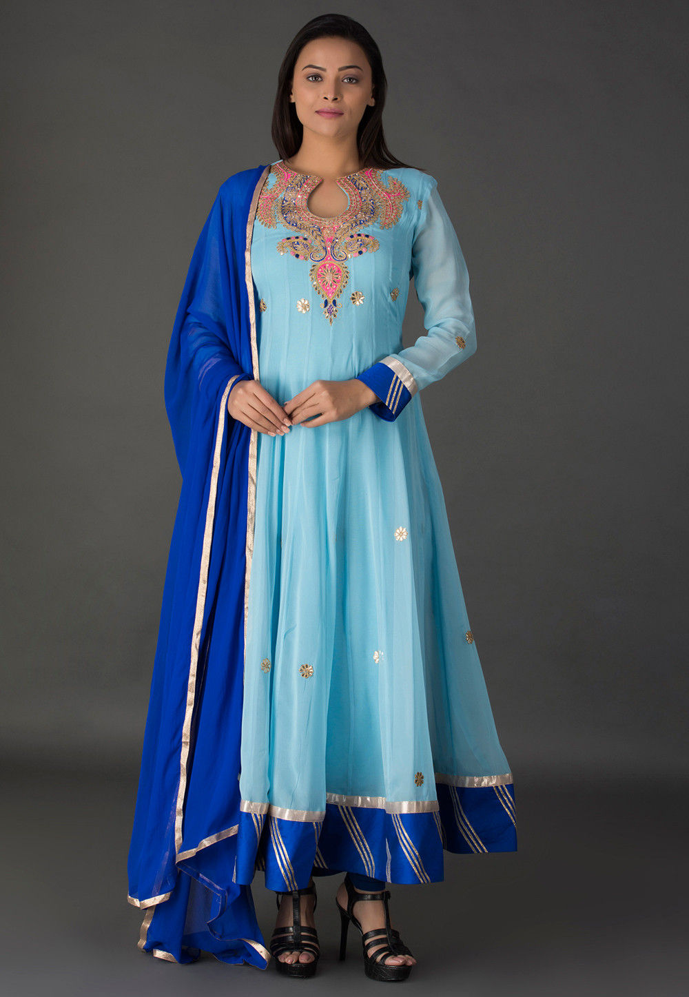 Gota Patti Georgette Abaya Style Suit in Sky Blue : KJN3171