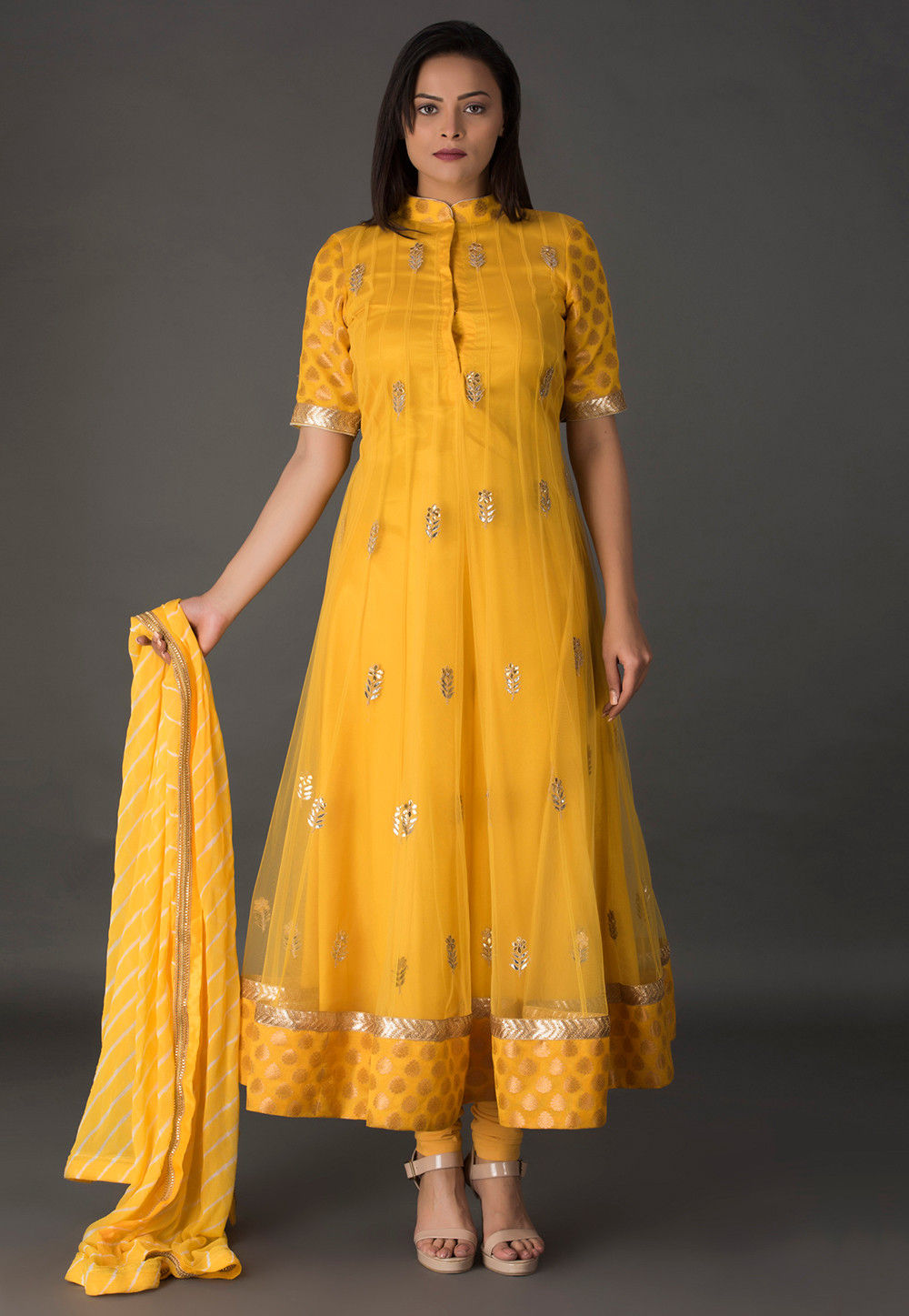 Gota Patti Net Anarkali Suit in Mustard