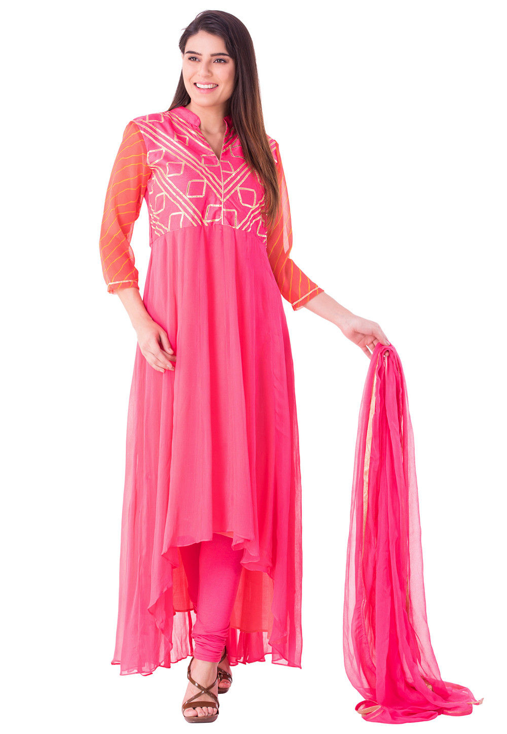 Gota Work Georgette Asymmetric Suit in Pink