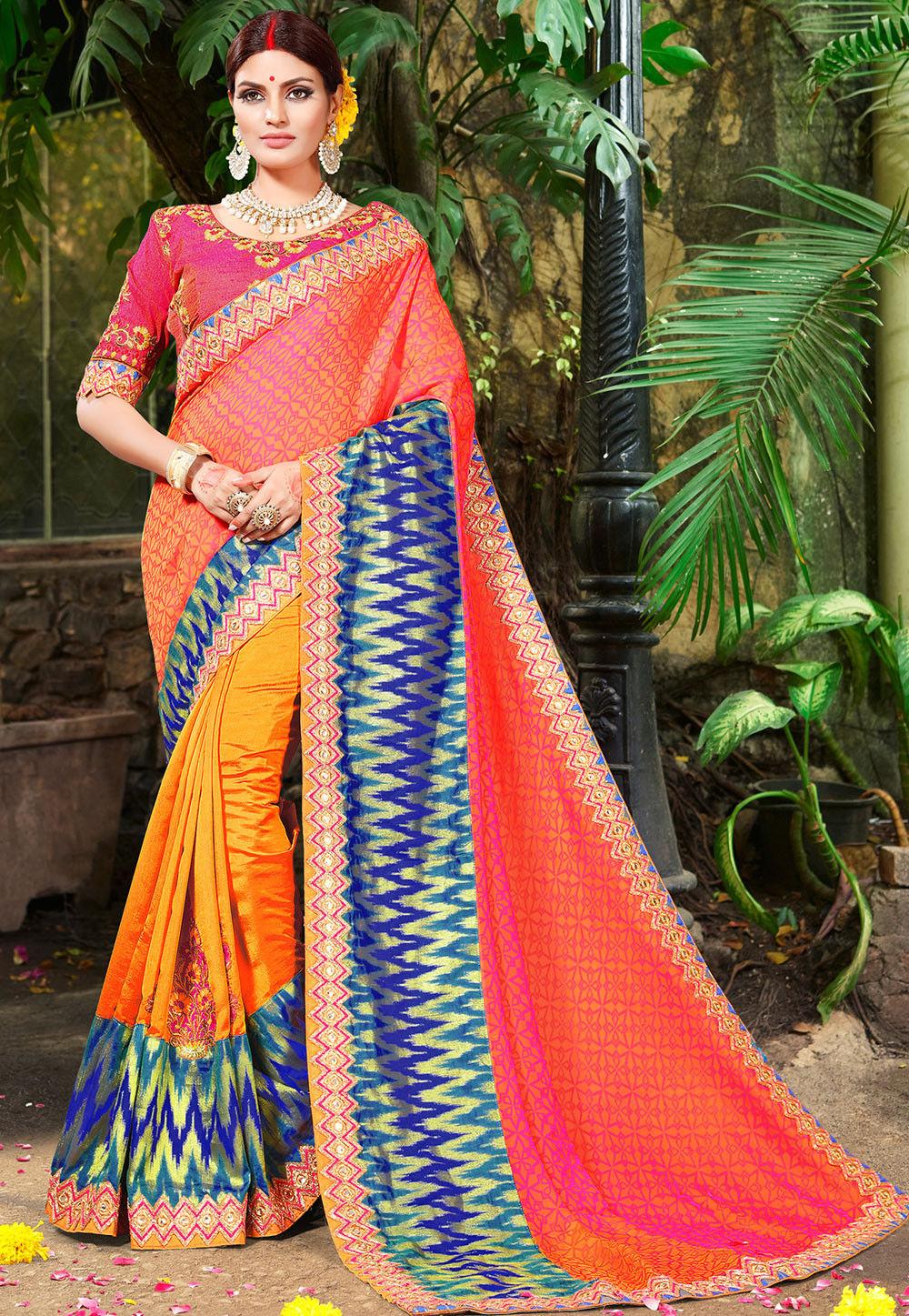 2ed2475f435723 Half N Half Brocade Silk and Art Silk Saree in Orange and Mustard ...