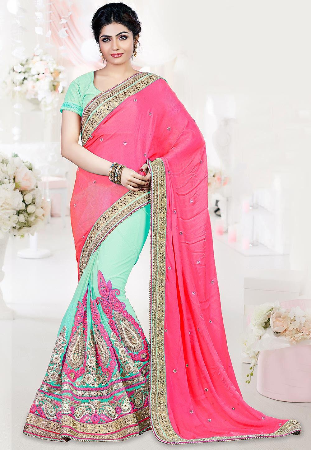 Half N Half Satin Saree in Pink and Sea Green